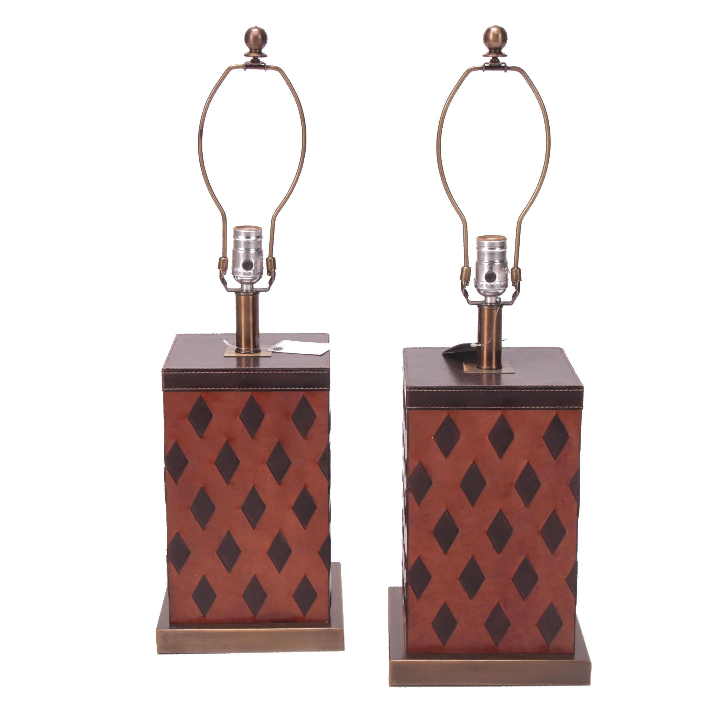 """Cavalier"" Leather-Wrapped Table Lamps"