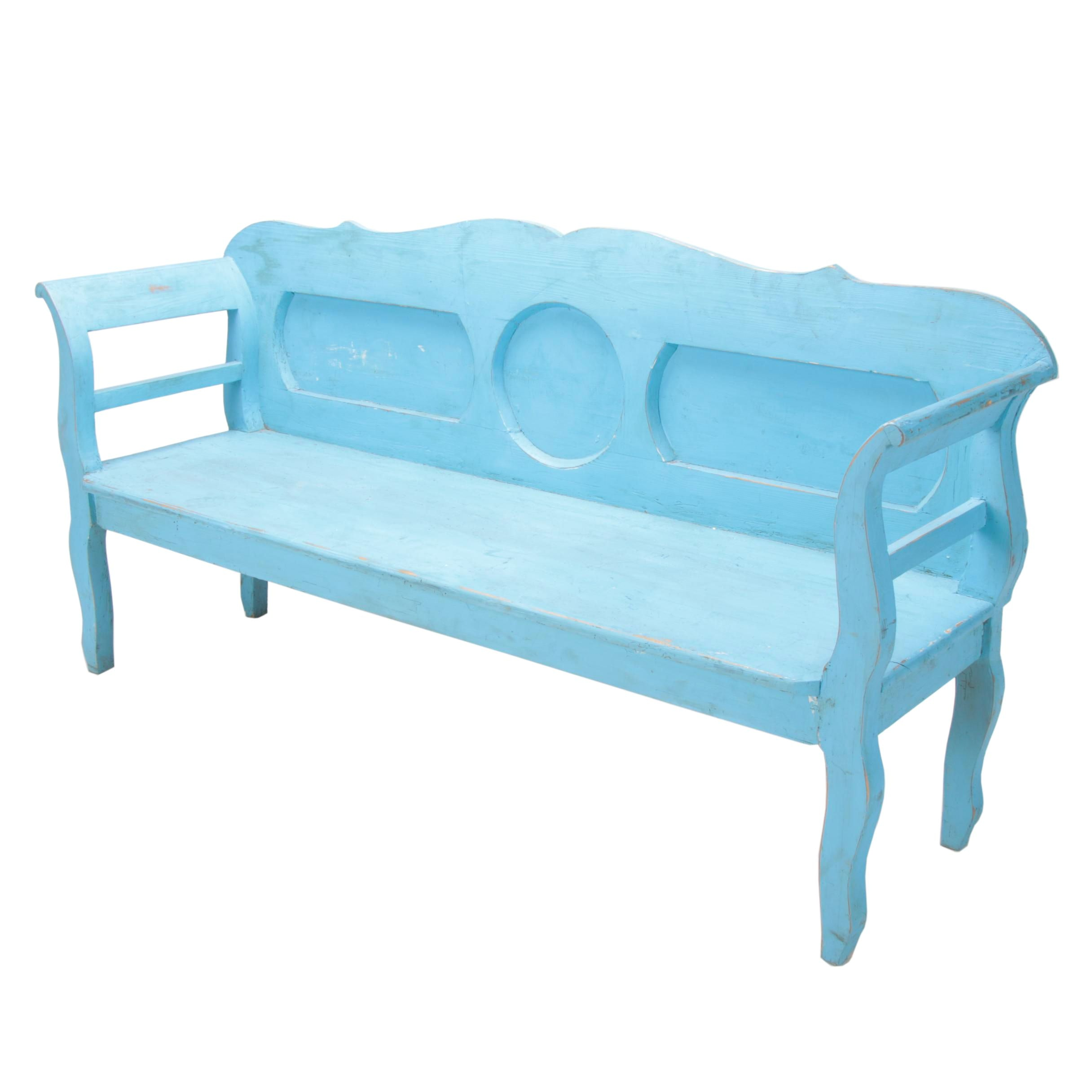 Continental Painted Pine Bench, Late 20th Century