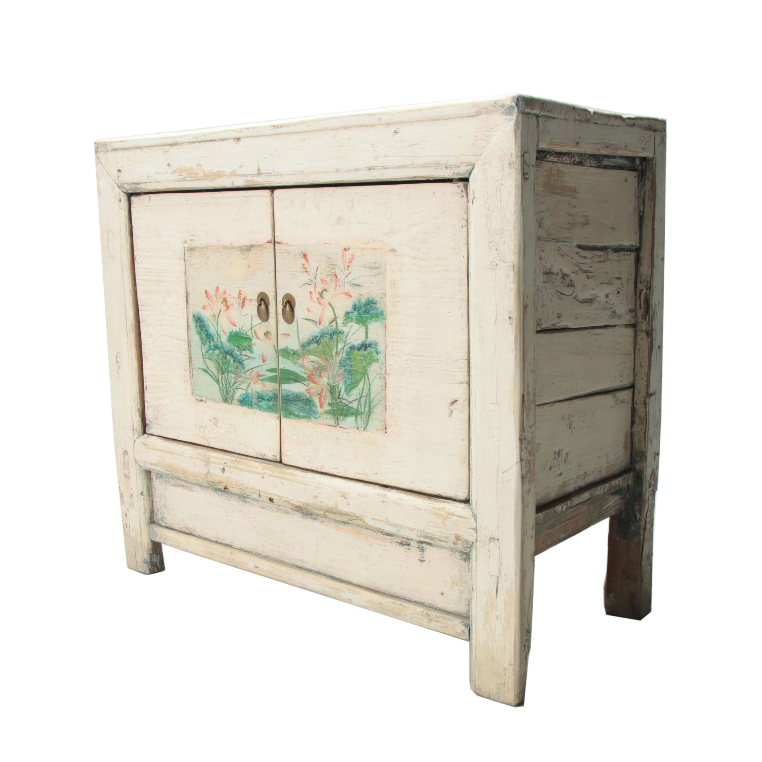 Mongolian Provincial Painted Pine Wood Cabinet, Late 20th Century