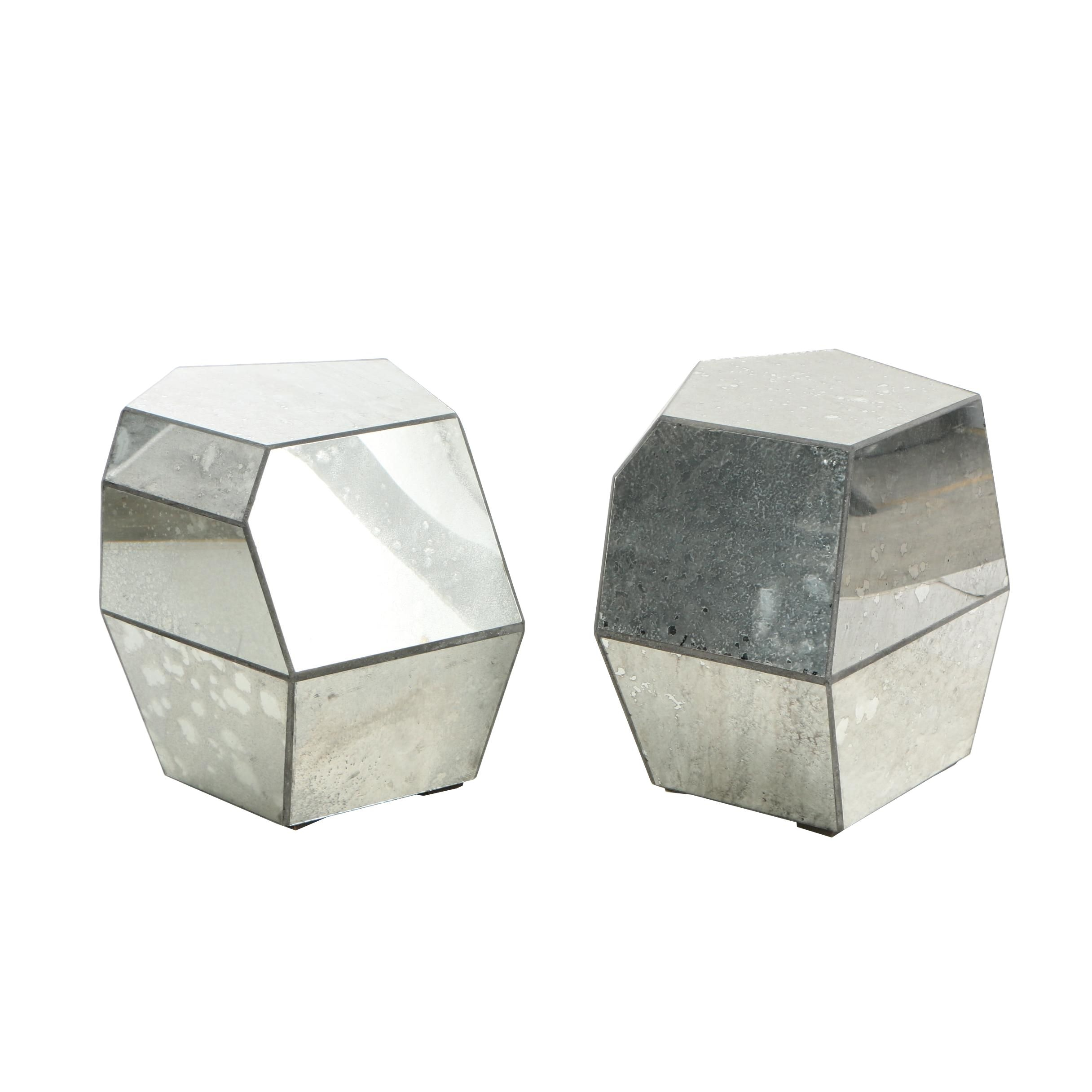 """Pair of """"Reflections"""" Antiqued Mirror Accent Tables"""