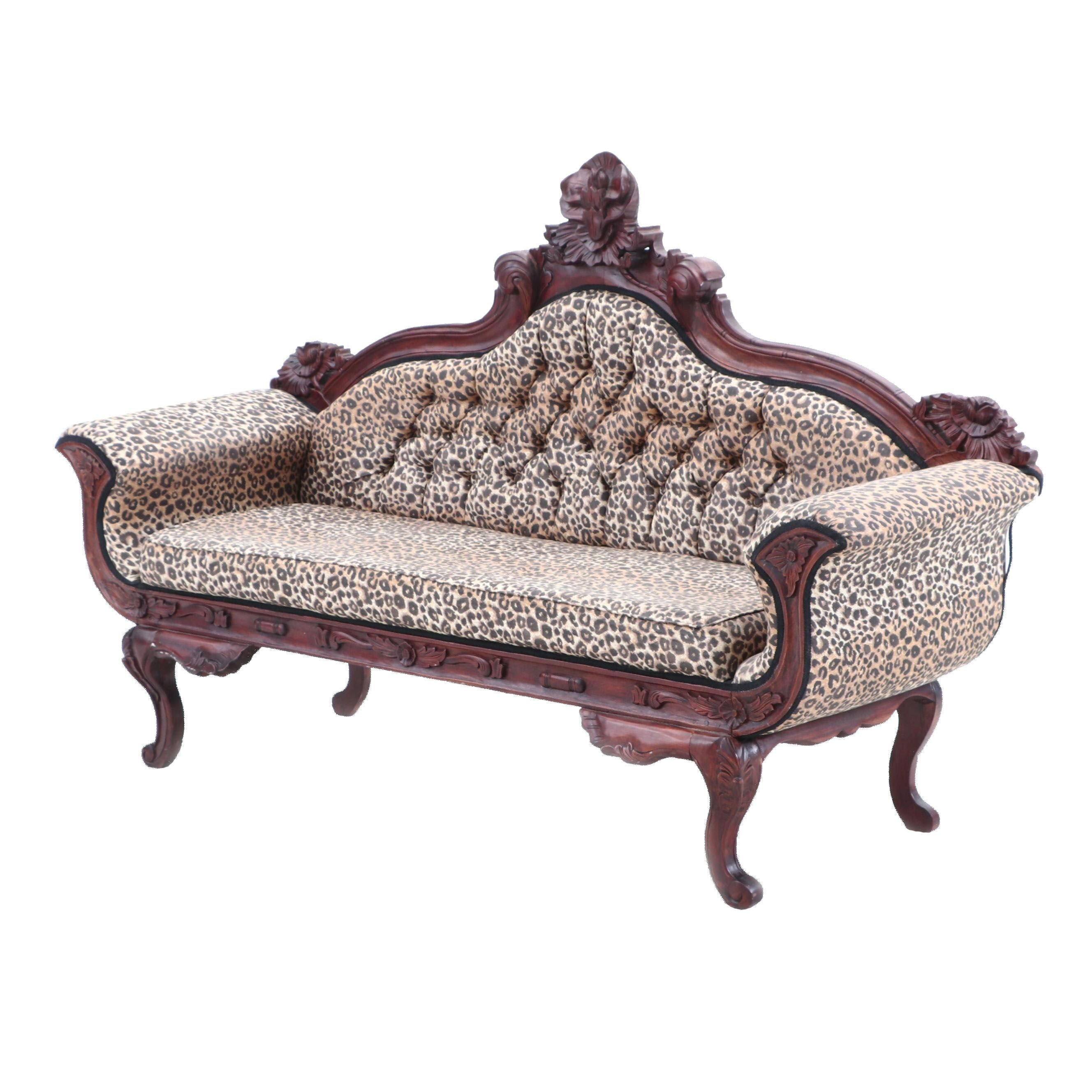 British Colonial Style Button Tufted Sofa in Mahogany Finish