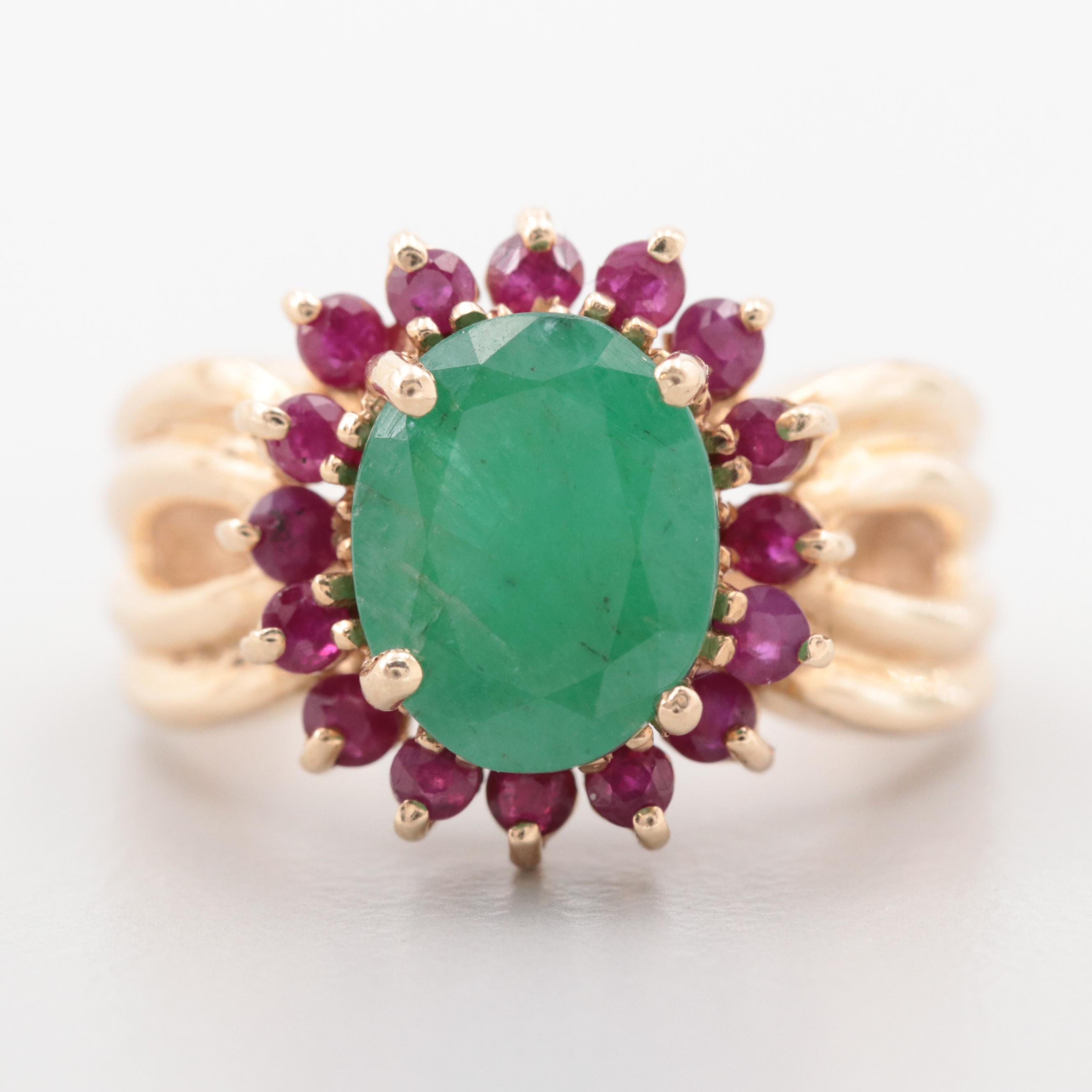 14K Yellow Gold 1.91 CT Emerald and Ruby Halo Ring