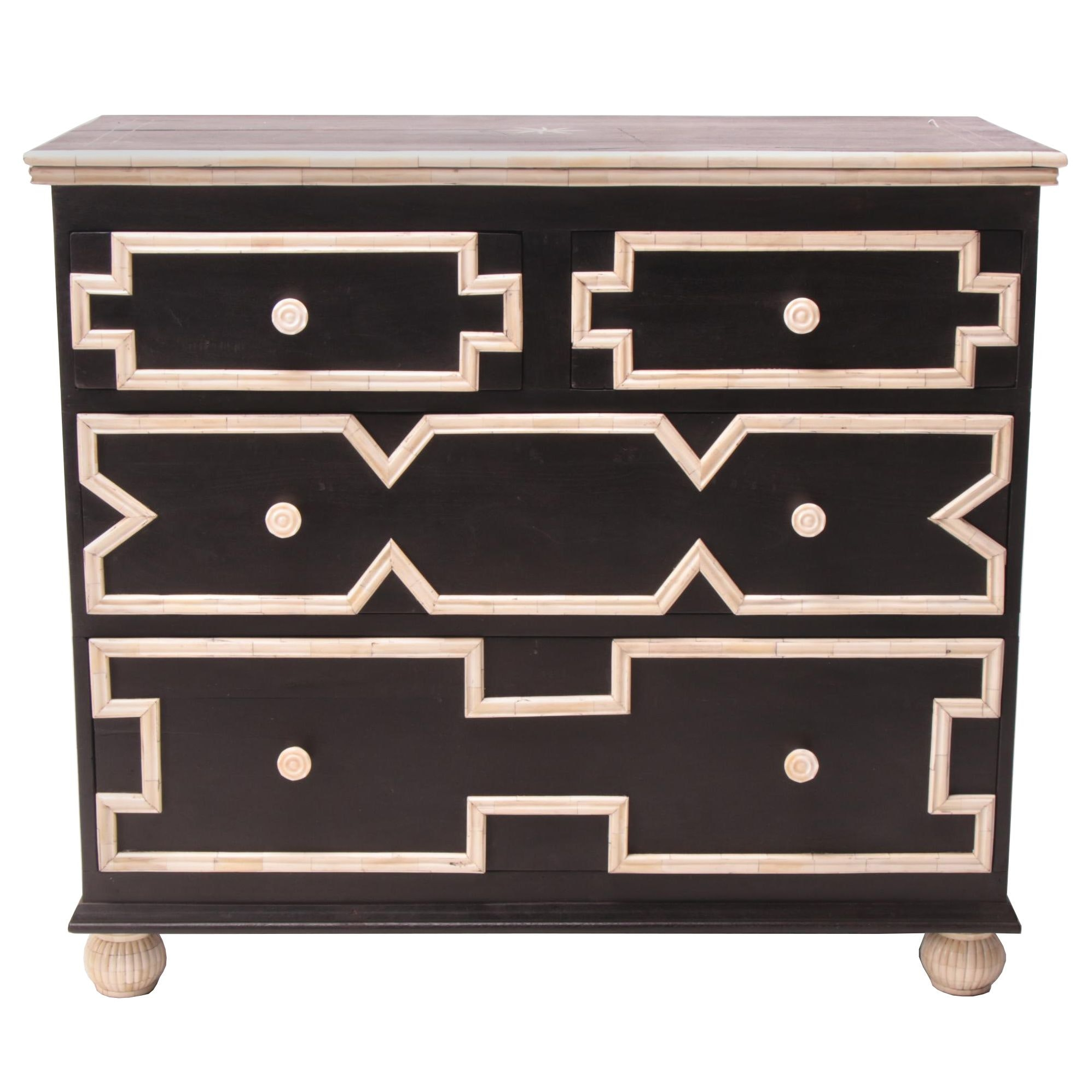 """Southwest Mod"" Ebonized Hardwood and Carved Bone Chest of Drawers"