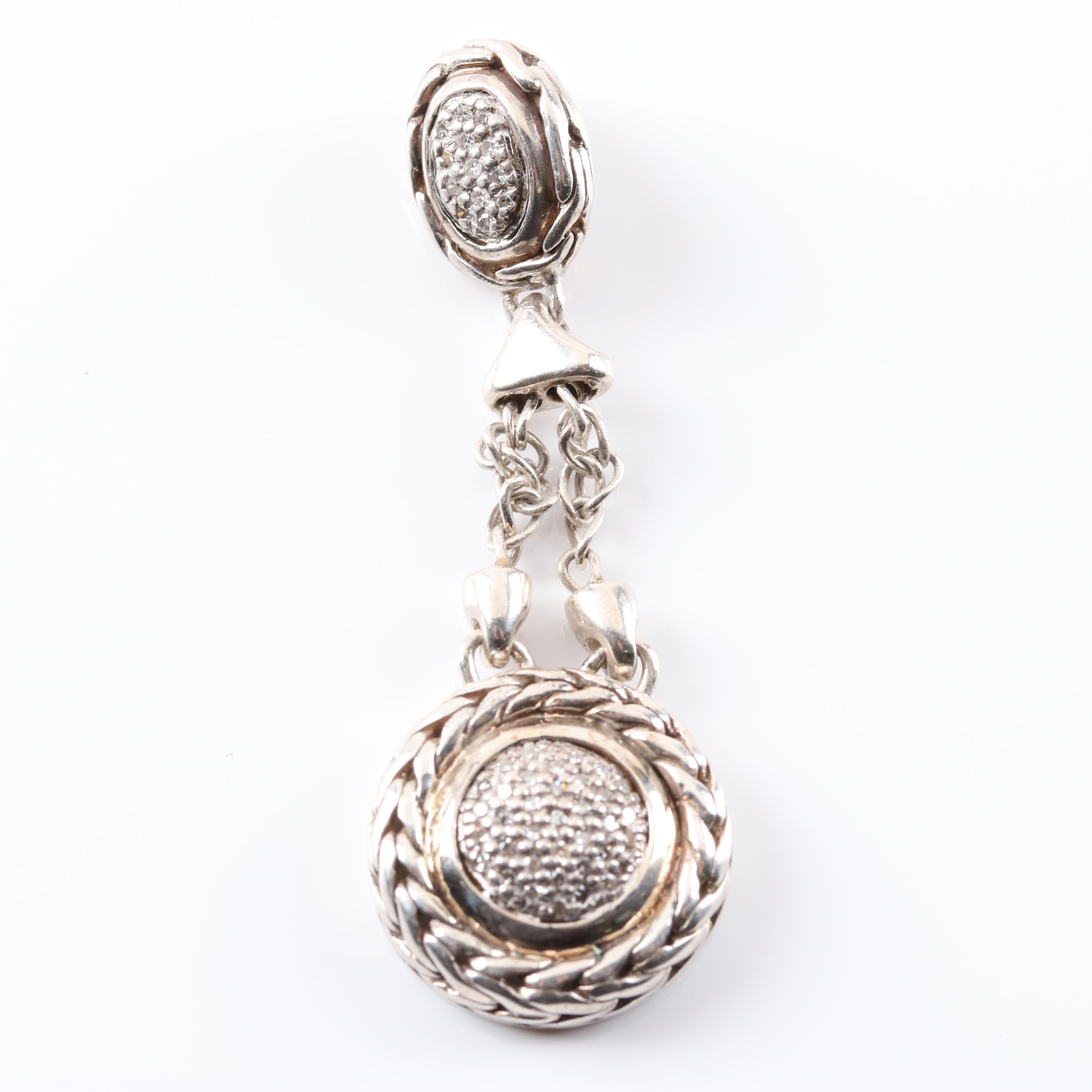 14K White Gold and Sterling Silver Diamond Drop Pendant