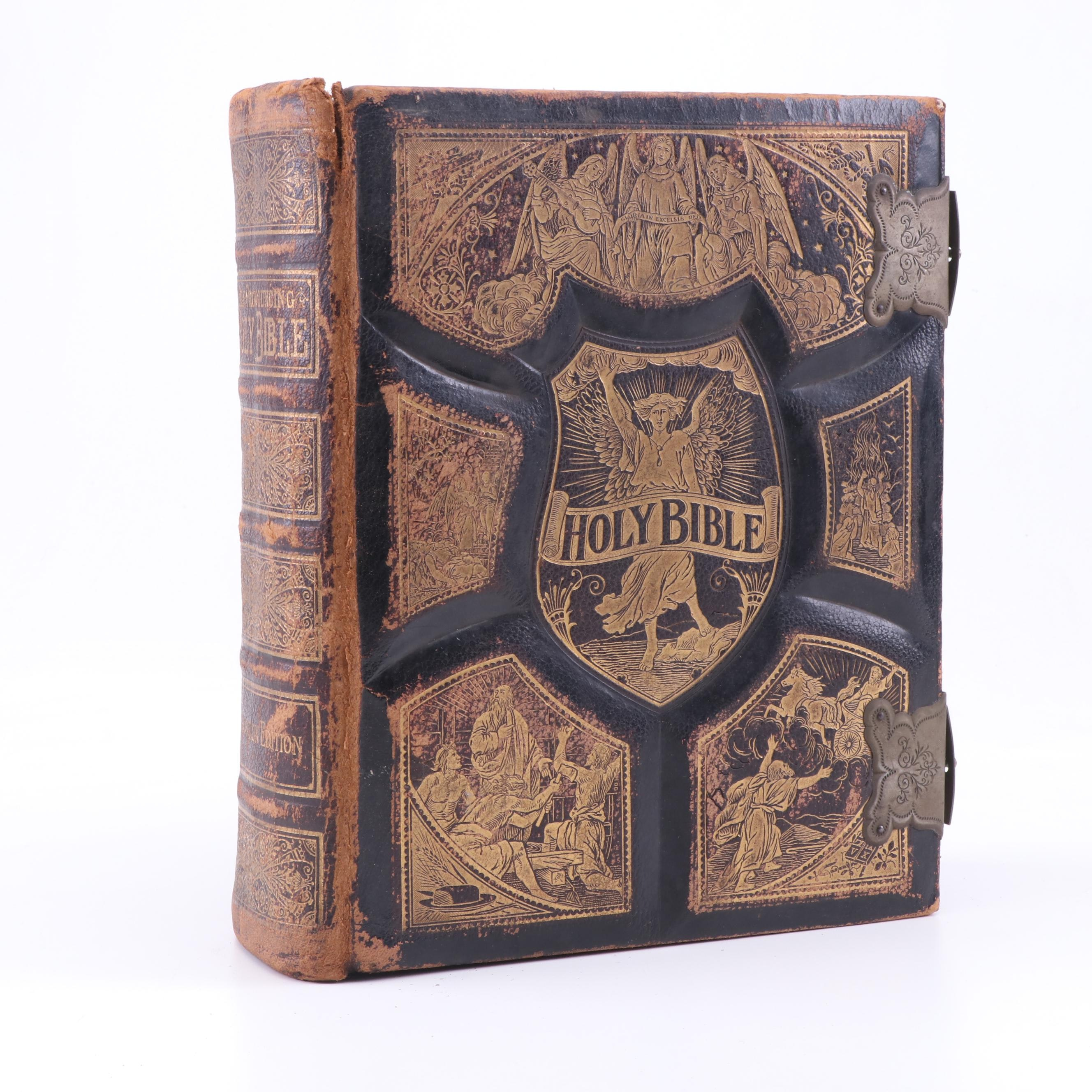 Antique Pictorial Family Bible, 19th Century