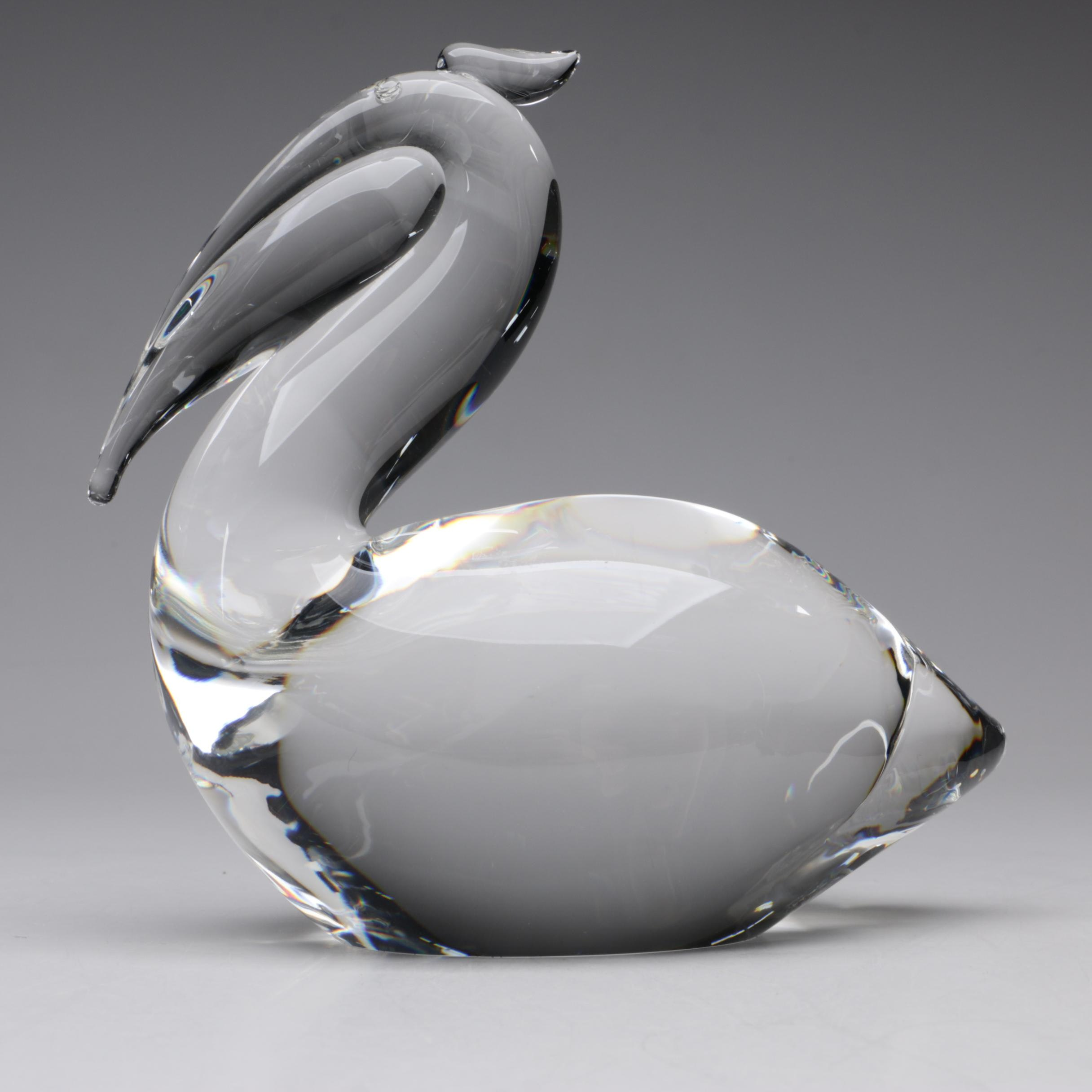 "Steuben Art Glass ""Pelican"" Figurine by Lloyd Atkins, 1960s"