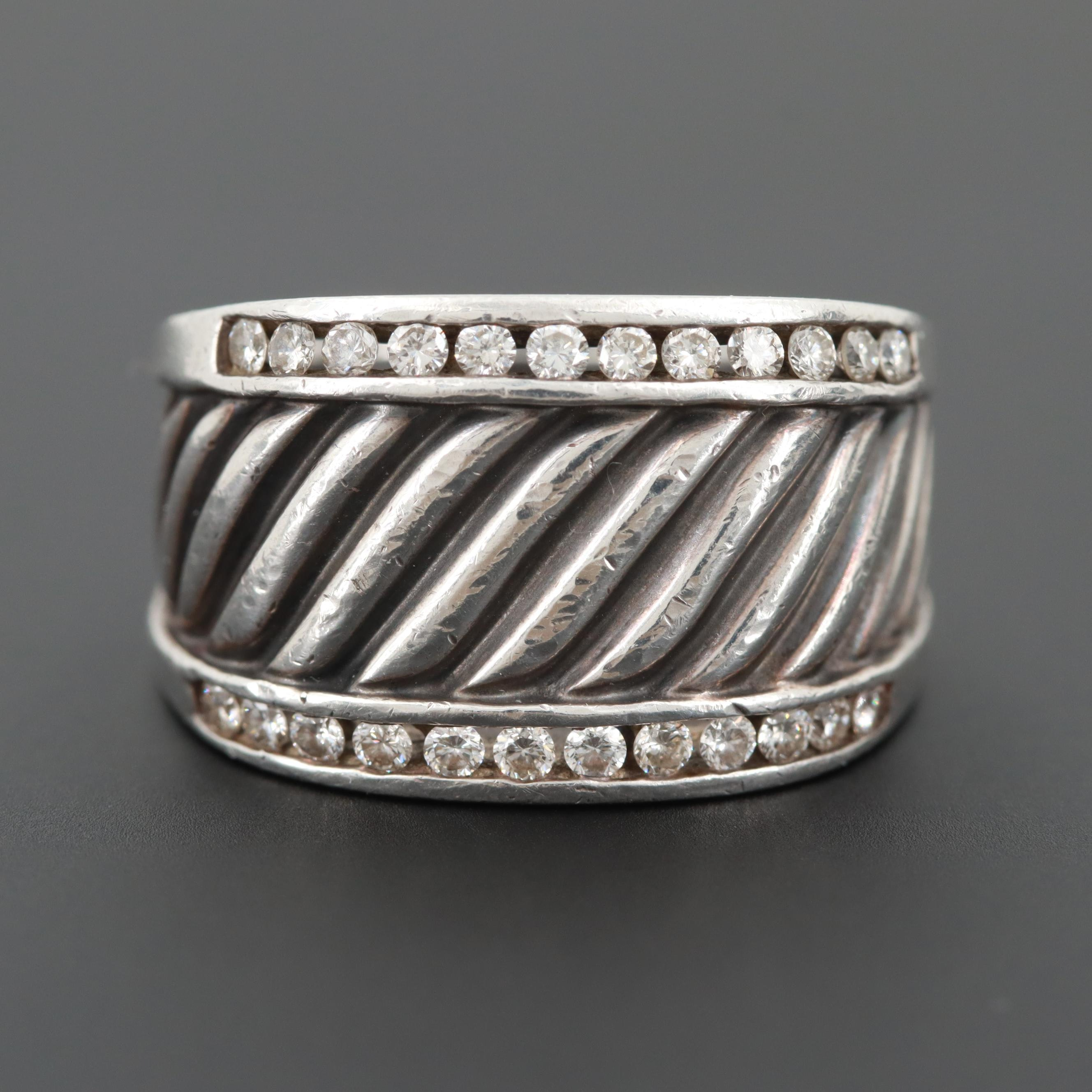 David Yurman Sterling Silver Cigar Band Diamond Ring