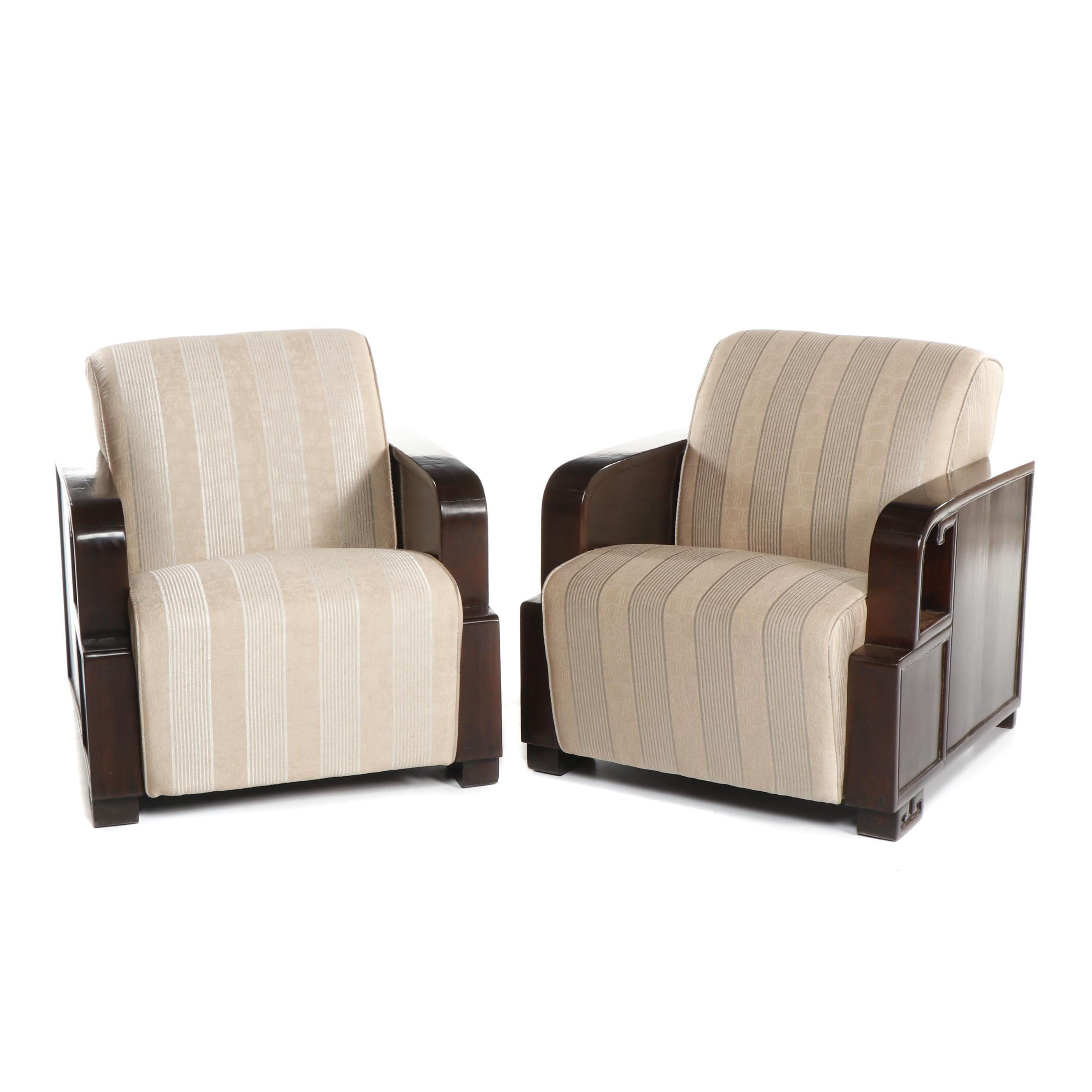 Art Deco Style Walnut Framed Satin Upholstered Armchairs, 21st Century