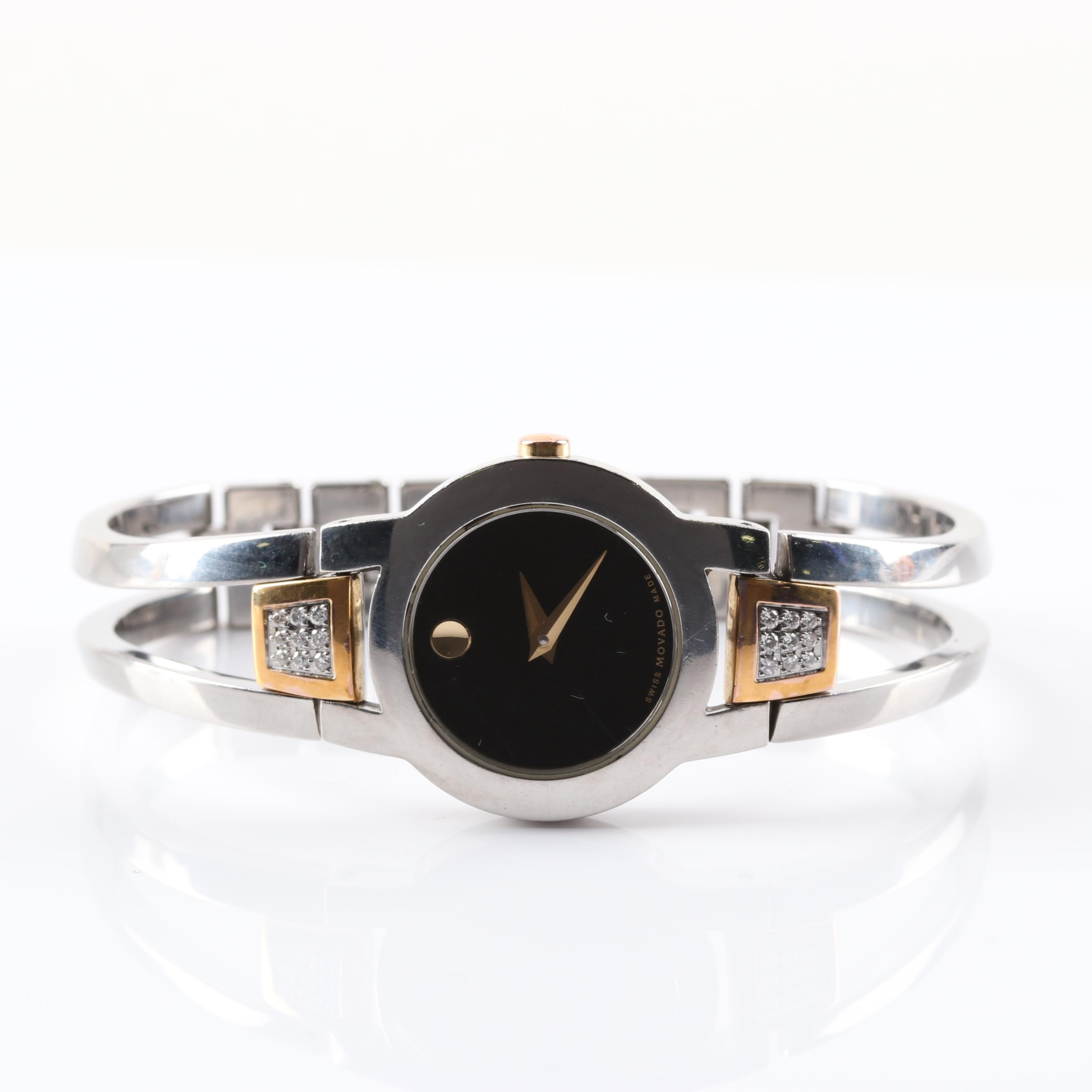 Movado Stainless Steel and Diamond Wristwatch