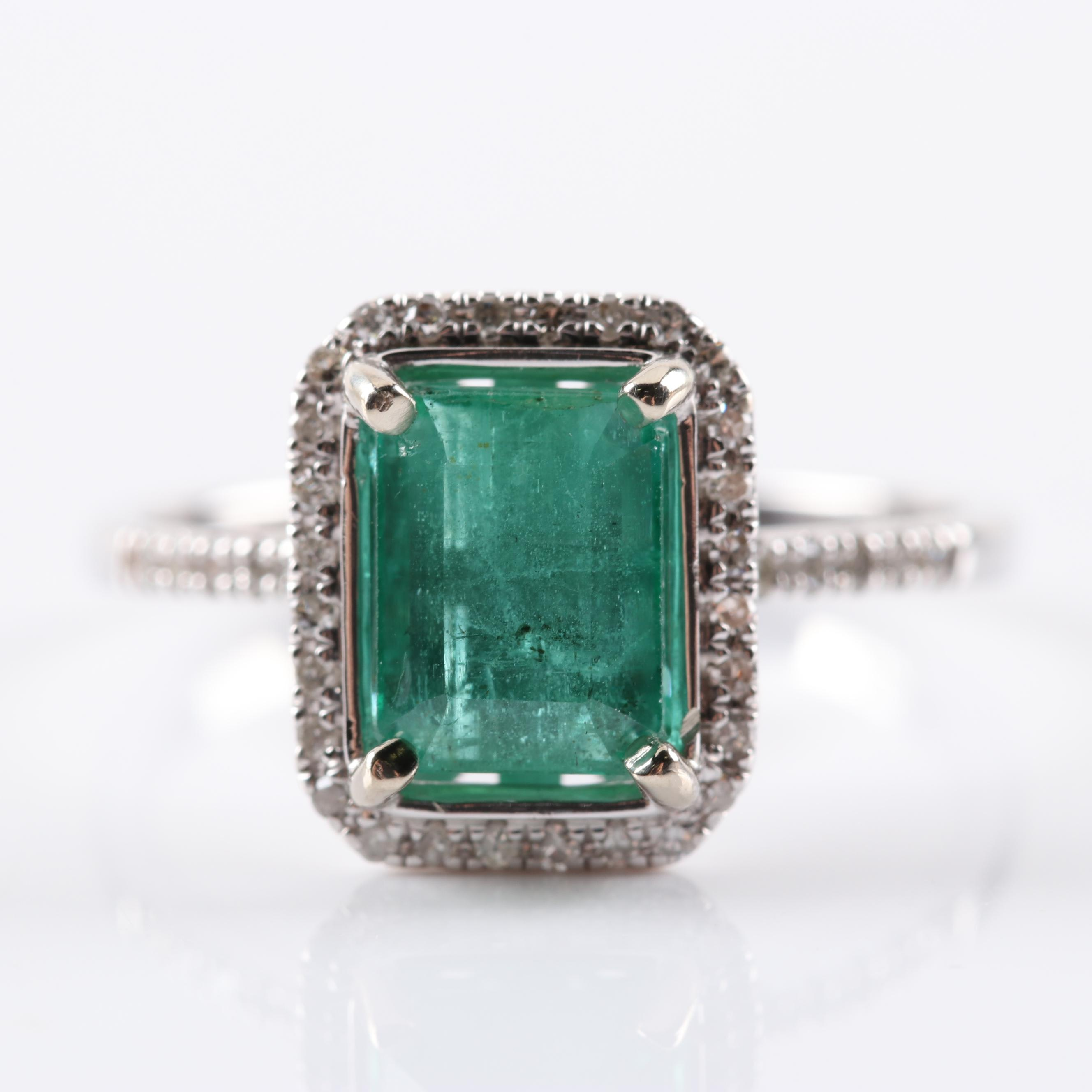 14K White Gold 1.70 CT Emerald and Diamond Ring
