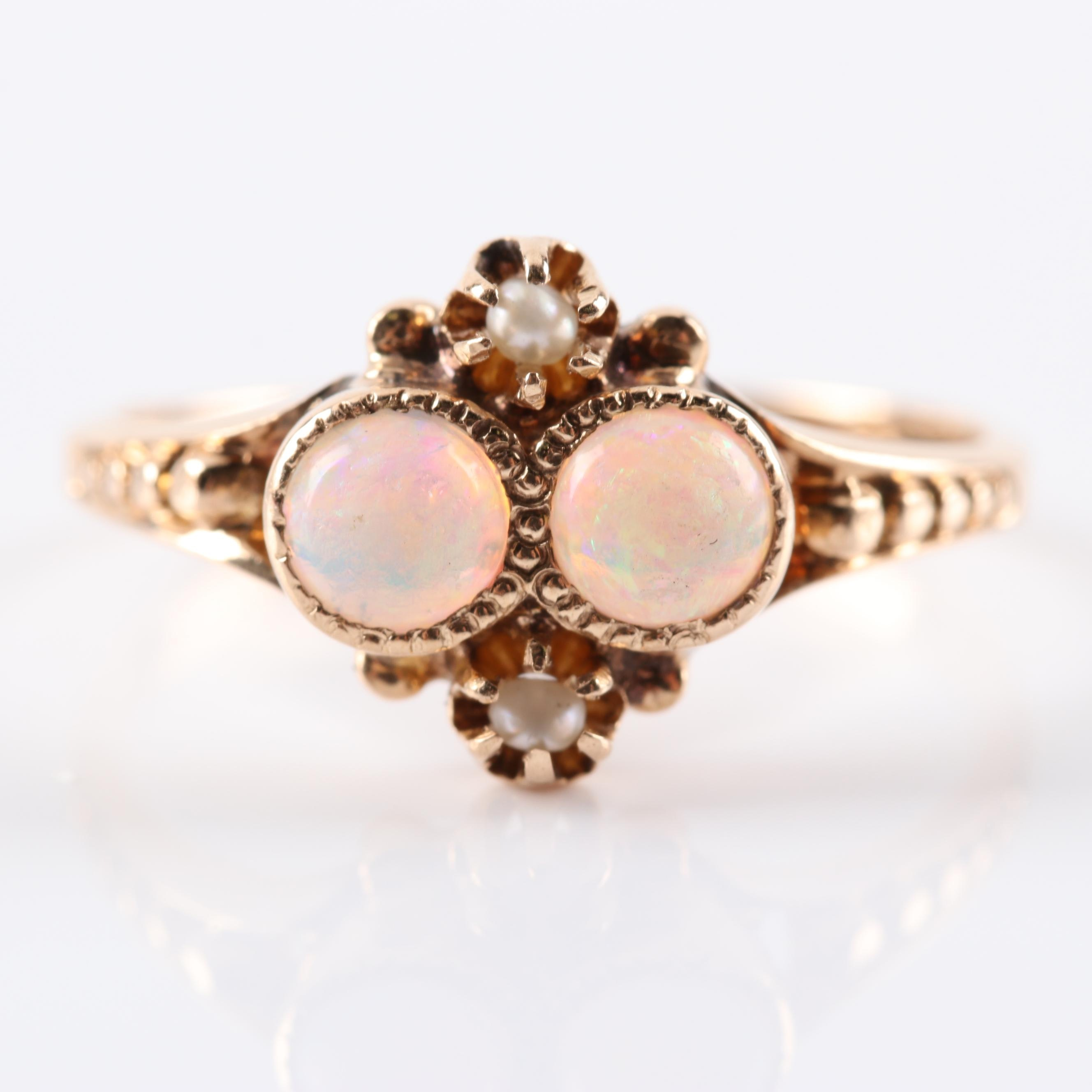 10K Yellow Gold Opal and Seed Pearl Ring