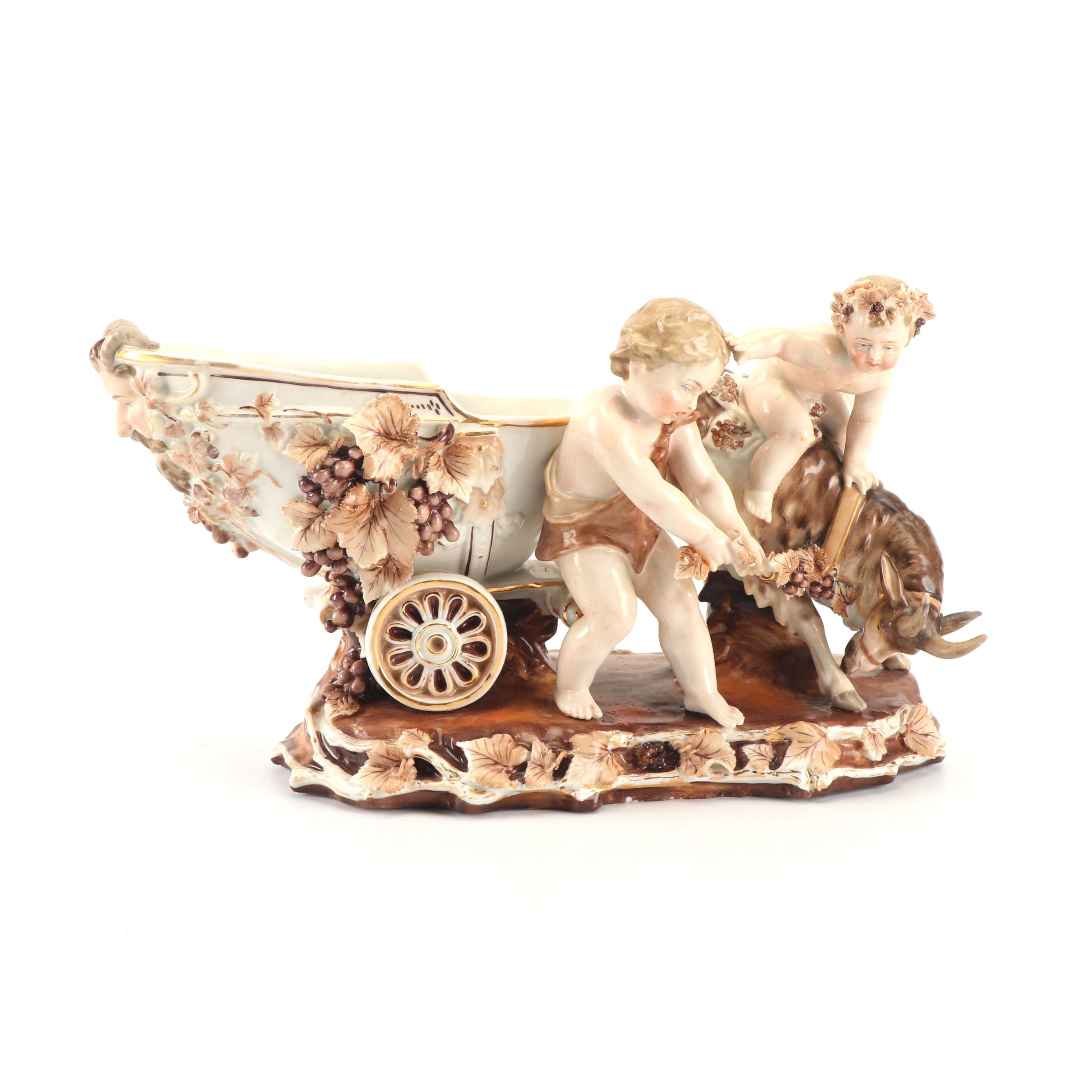 Bacchus Chariot and Goat Porcelain Figurine Attributed to Meissen circa 1840
