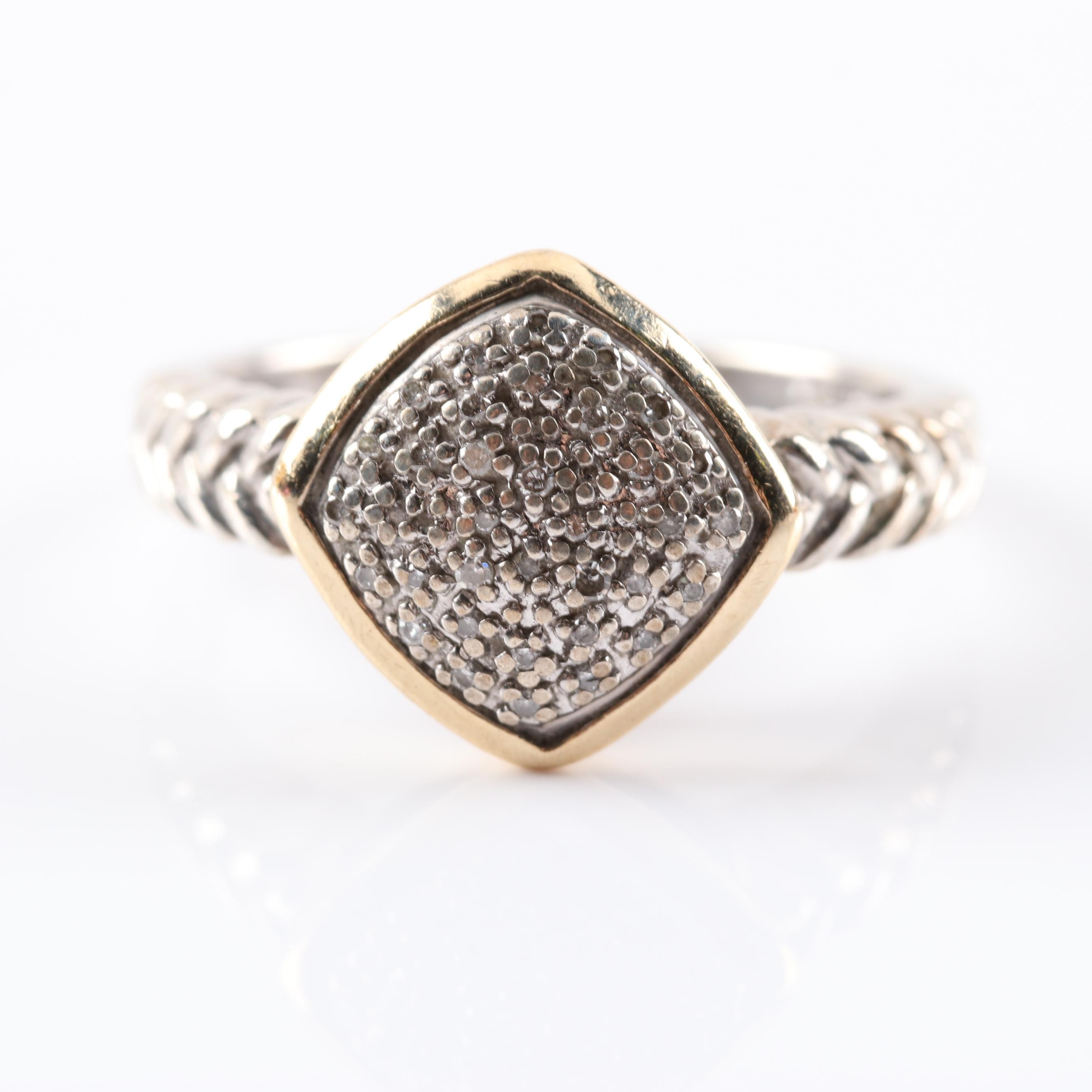 Sterling Silver and 14K Yellow Gold Diamond Ring