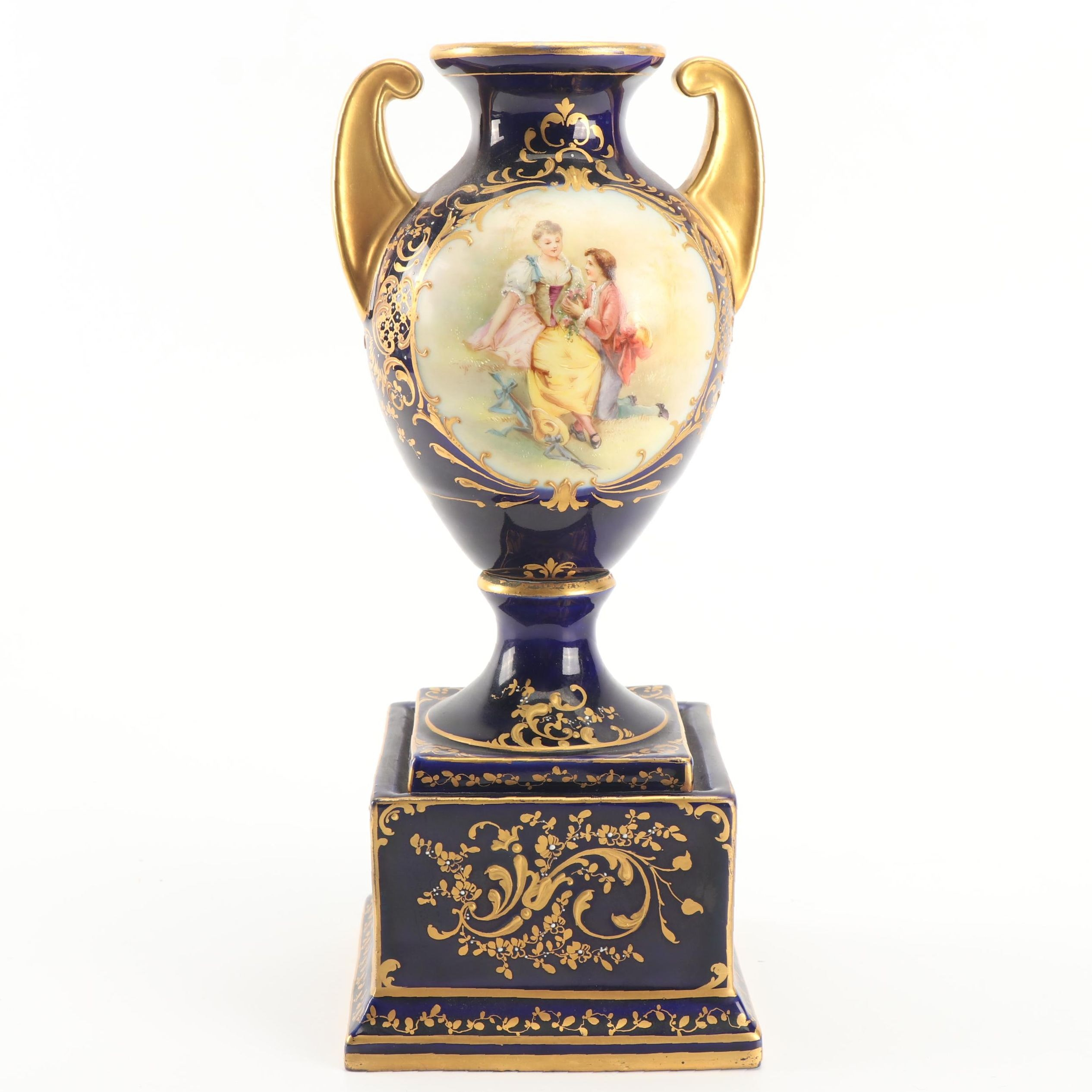 Ackermann and Fritz Royal Vienna Style Porcelain Vase