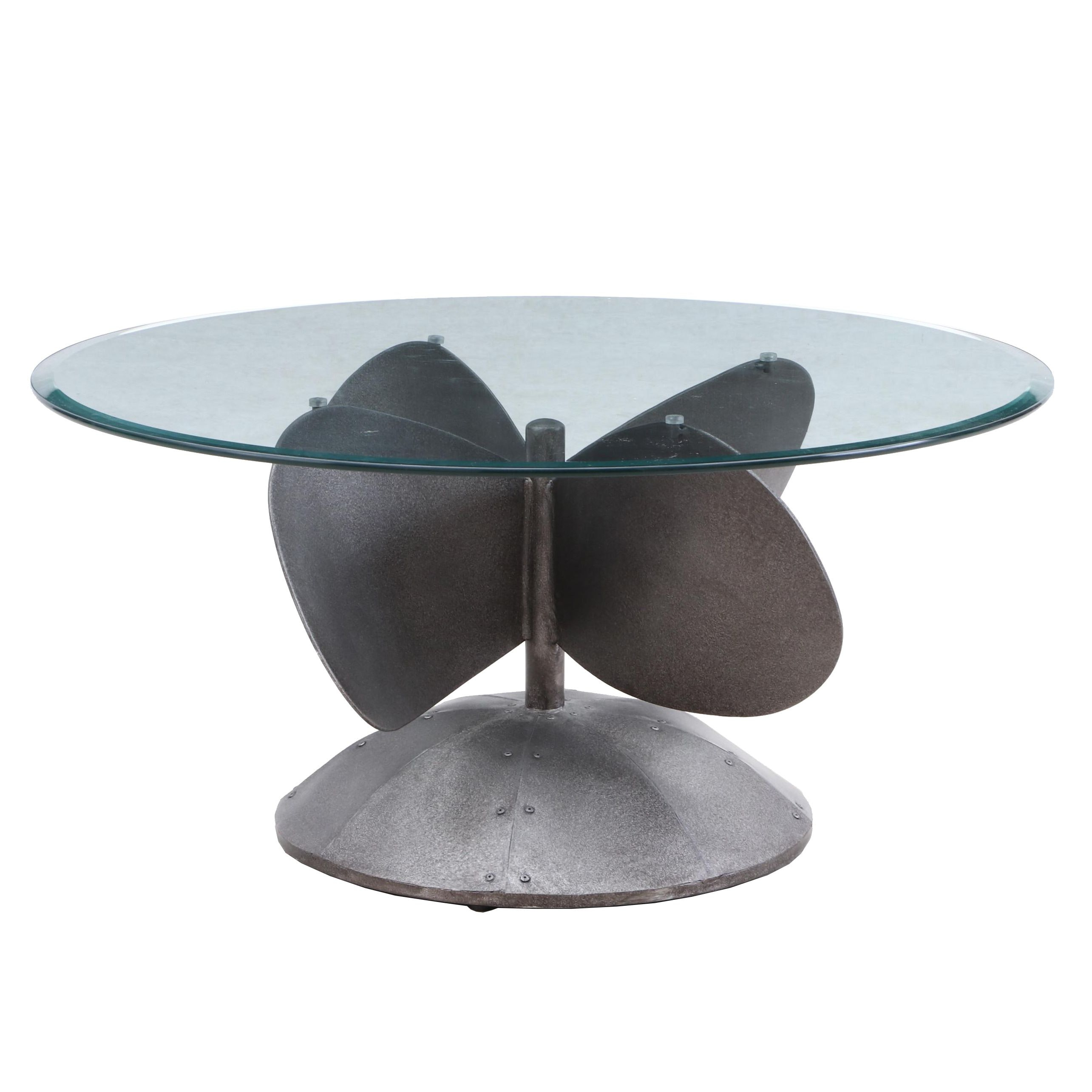 Contemporary Glass Top Coffee Table with Propellor Shaped Metal Base