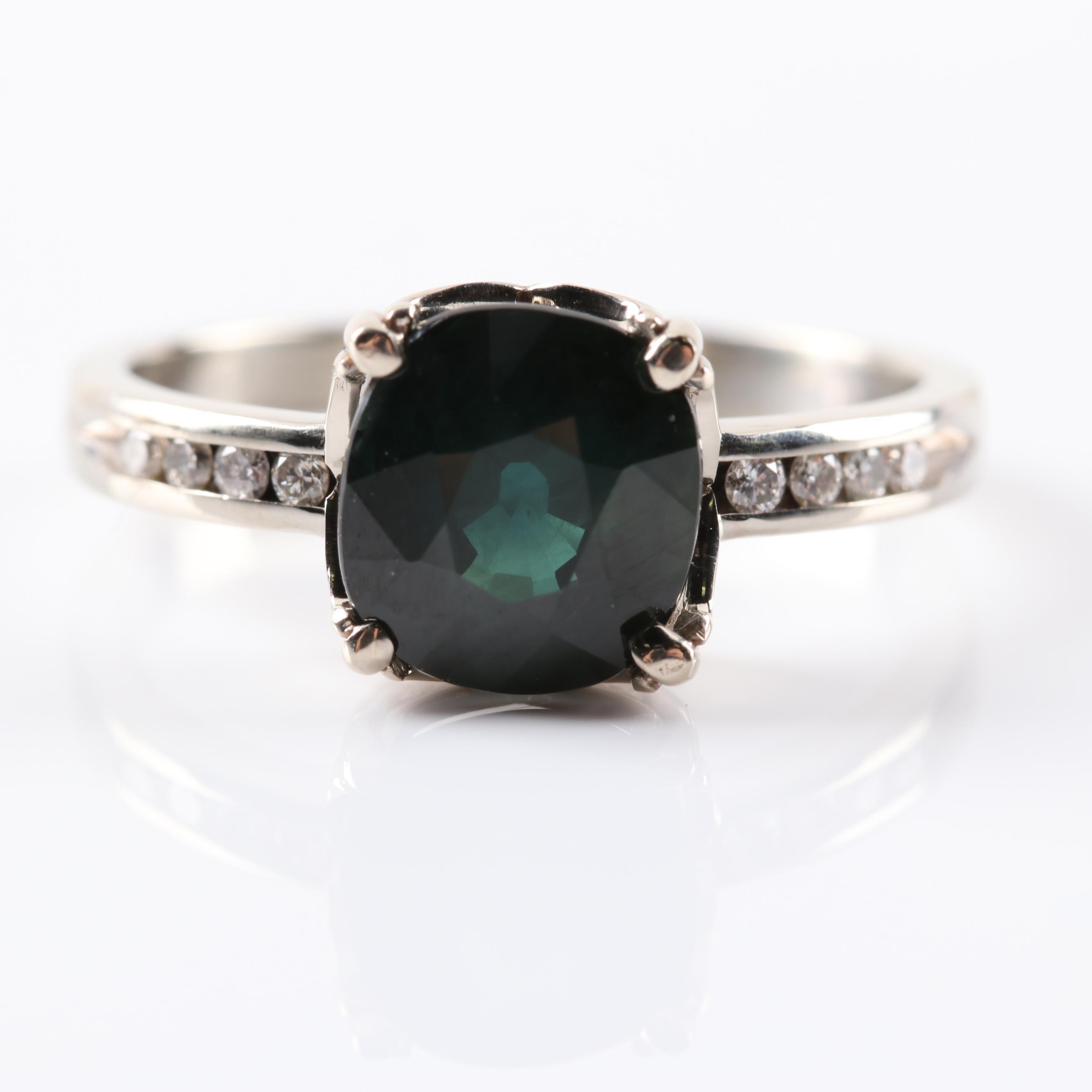 18K White Gold 2.21 CT Sapphire and Diamond Ring