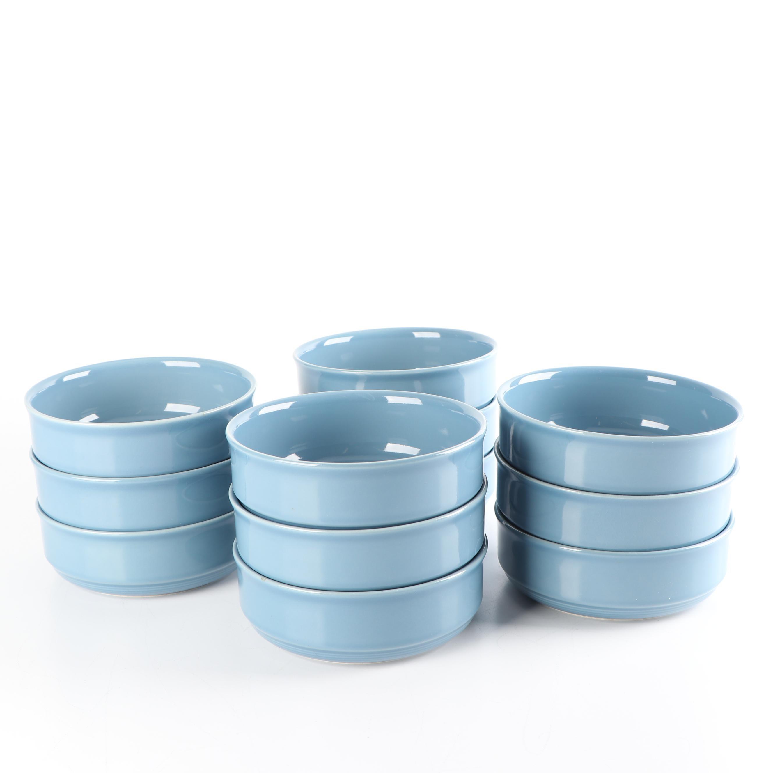 """Nancy Calhoun """"Light Blue"""" Stoneware Cereal Bowls, circa 1990"""