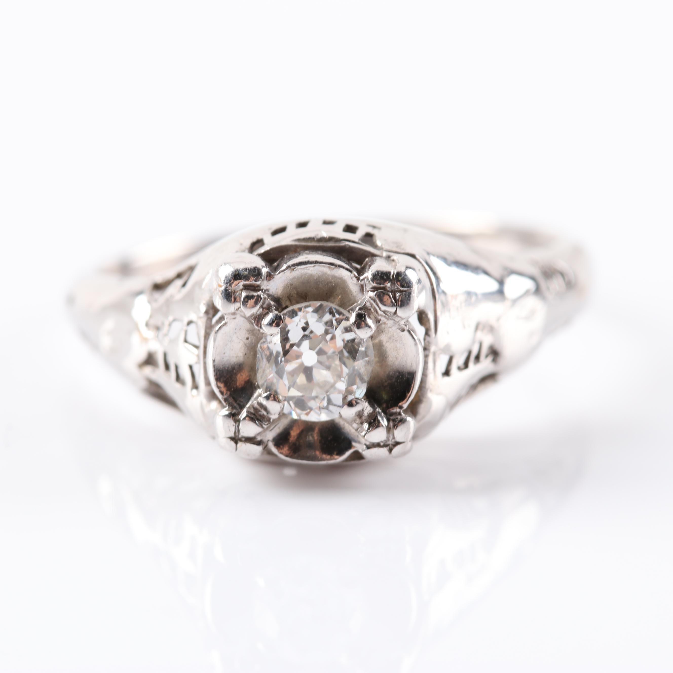 14K White Gold Old Mine Cut Diamond Filigree Ring