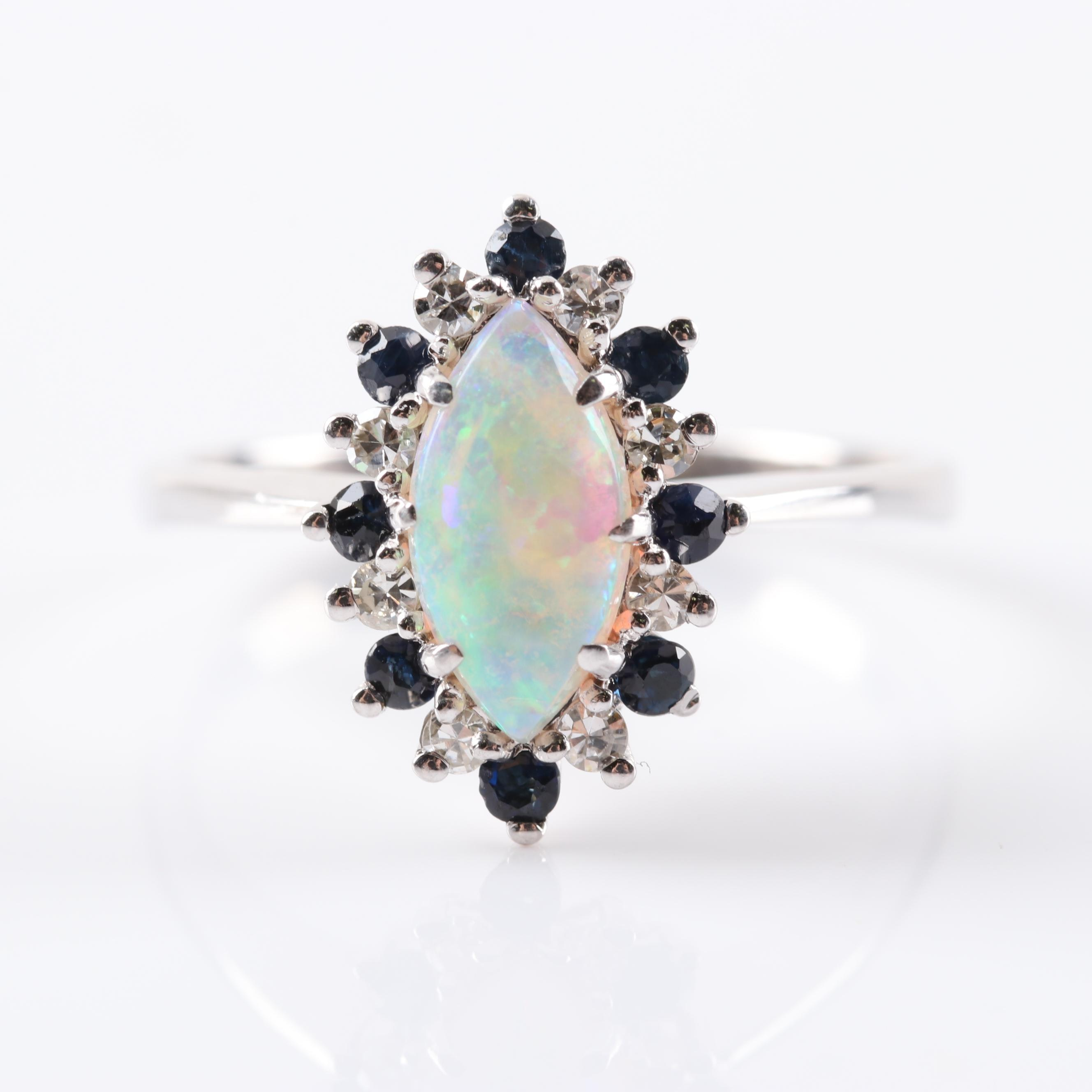 14K White Gold Opal, Sapphire and Diamond Ring