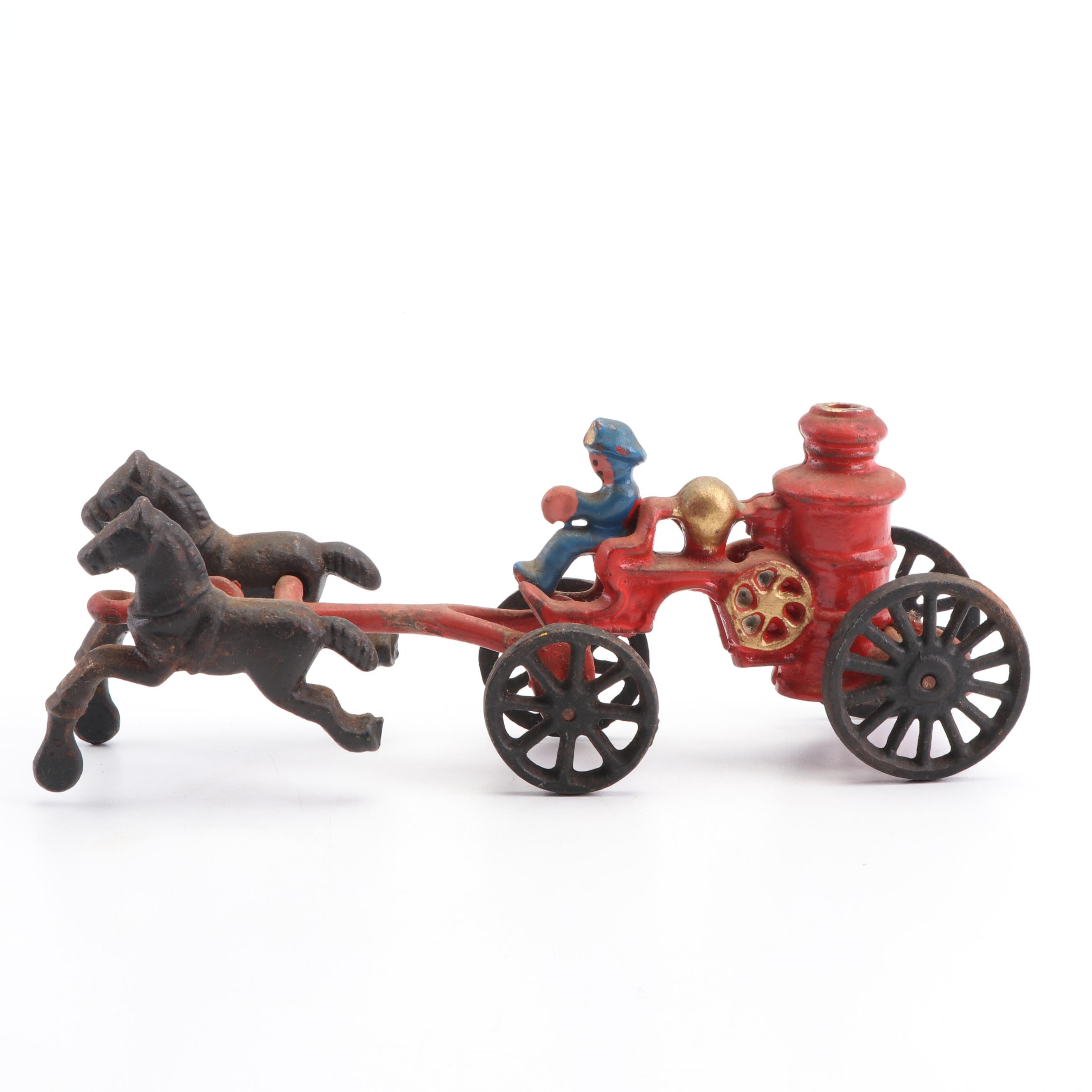 Cast Policeman and Buggy Toy, Early 20th Century