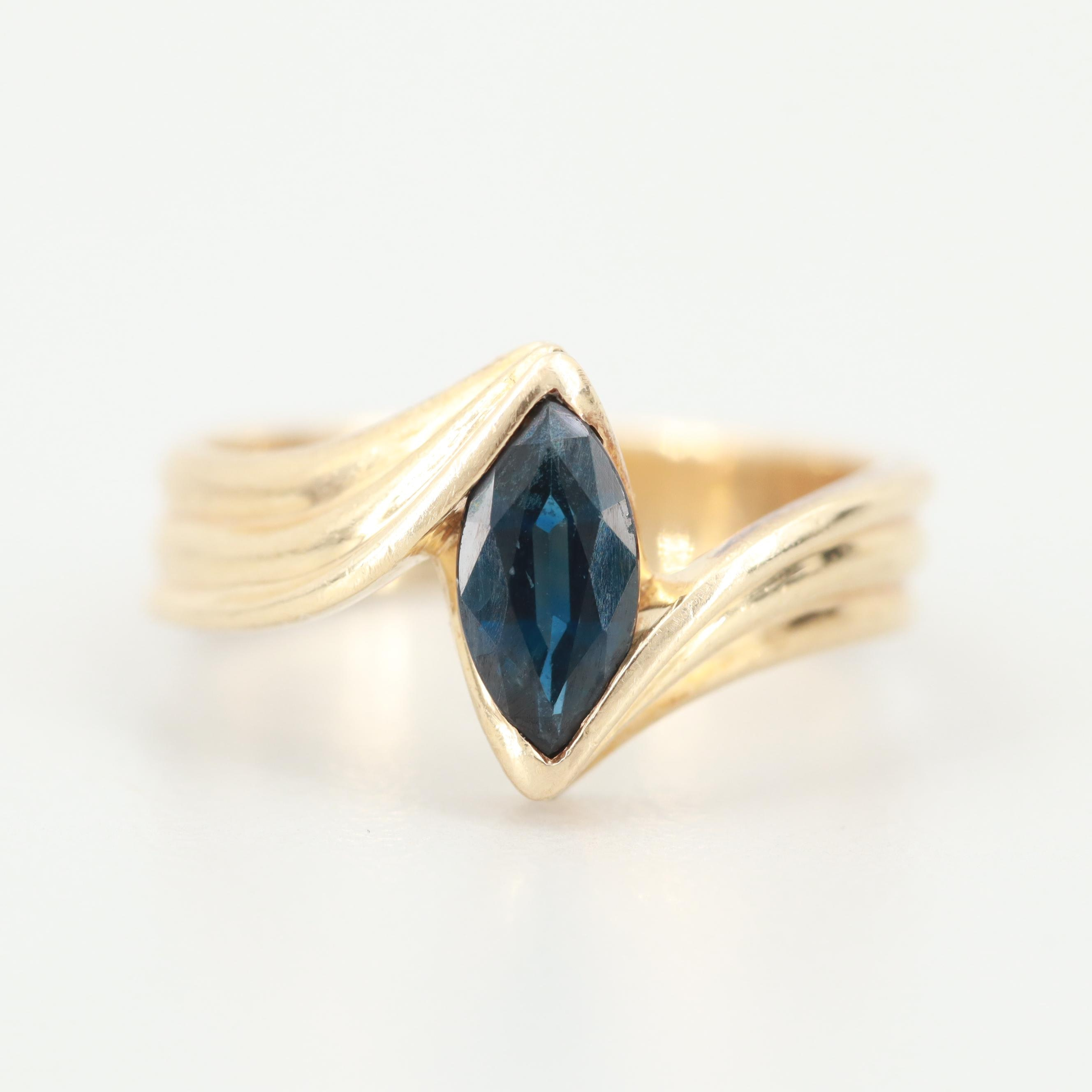 14K Yellow Gold Sapphire Ring with Euro Shank