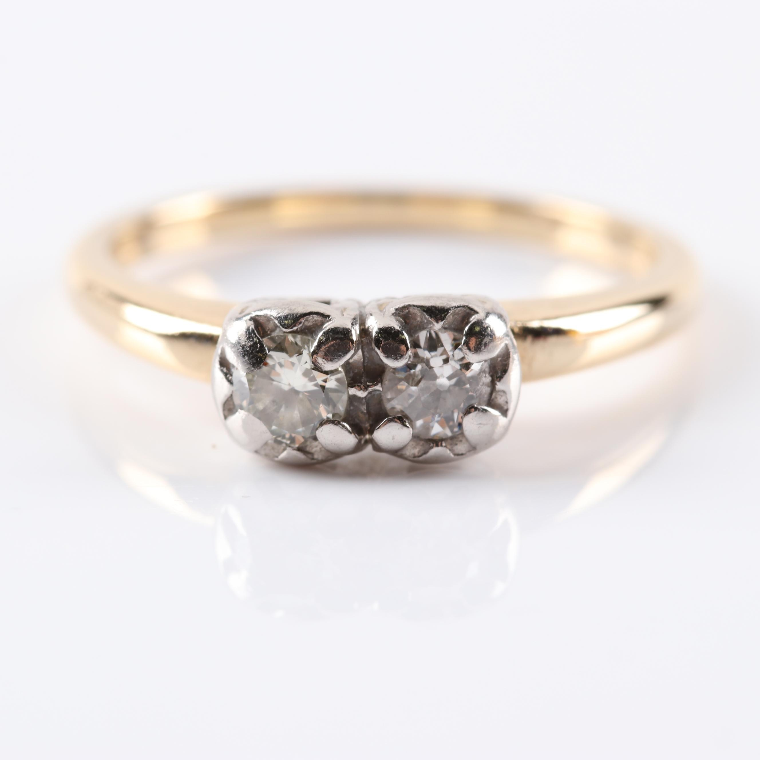 14K Yellow Gold Double Diamond Ring