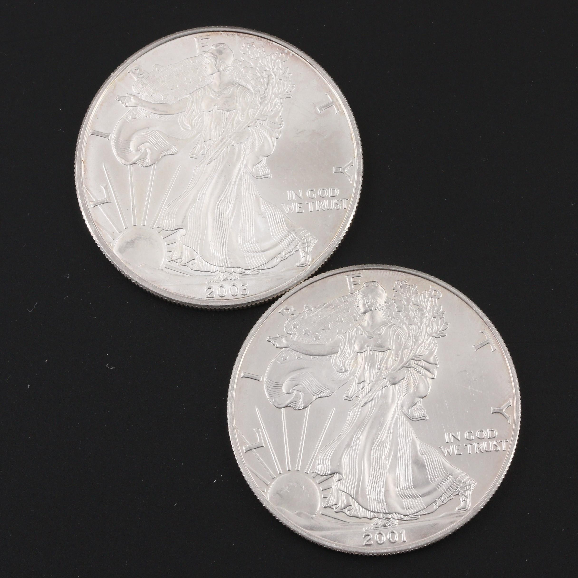 2001 and 2003 Silver American Eagle $1 Bullion Coins