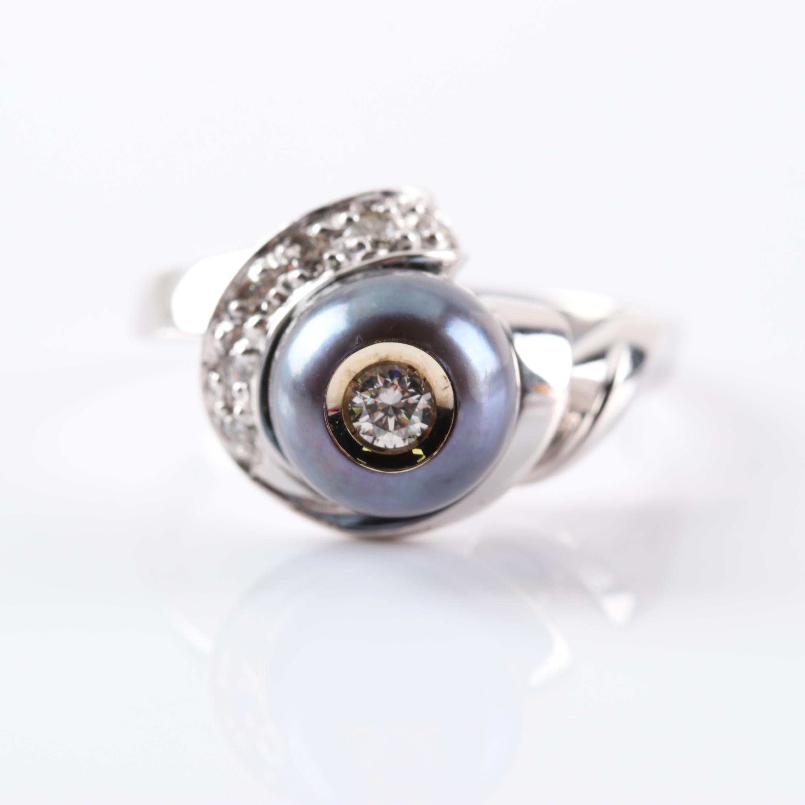 "Galatea 14K White Gold ""Diamond in a Pearl"" Ring"