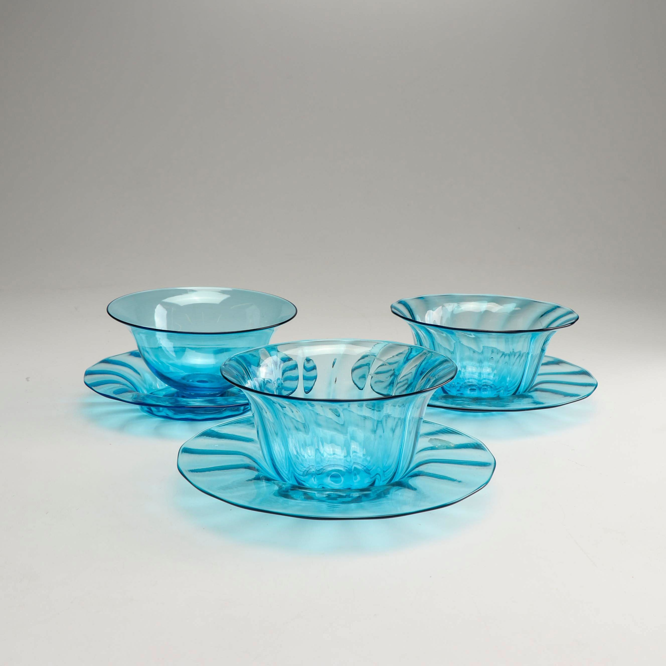 "Steuben ""Celeste Blue"" Glass Bowls and Plates, Early 20th Century"