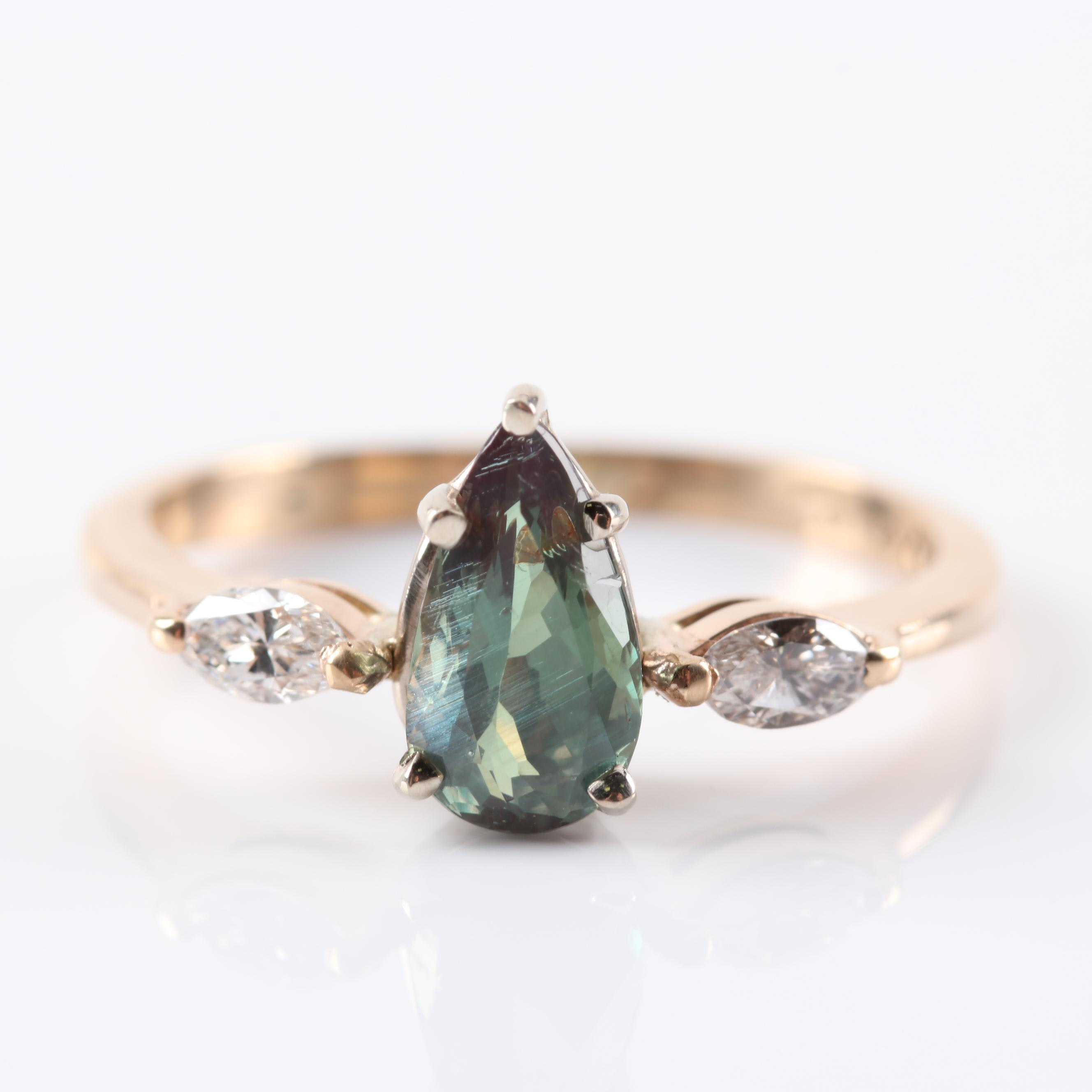 14K Yellow Gold Alexandrite and Diamond Ring