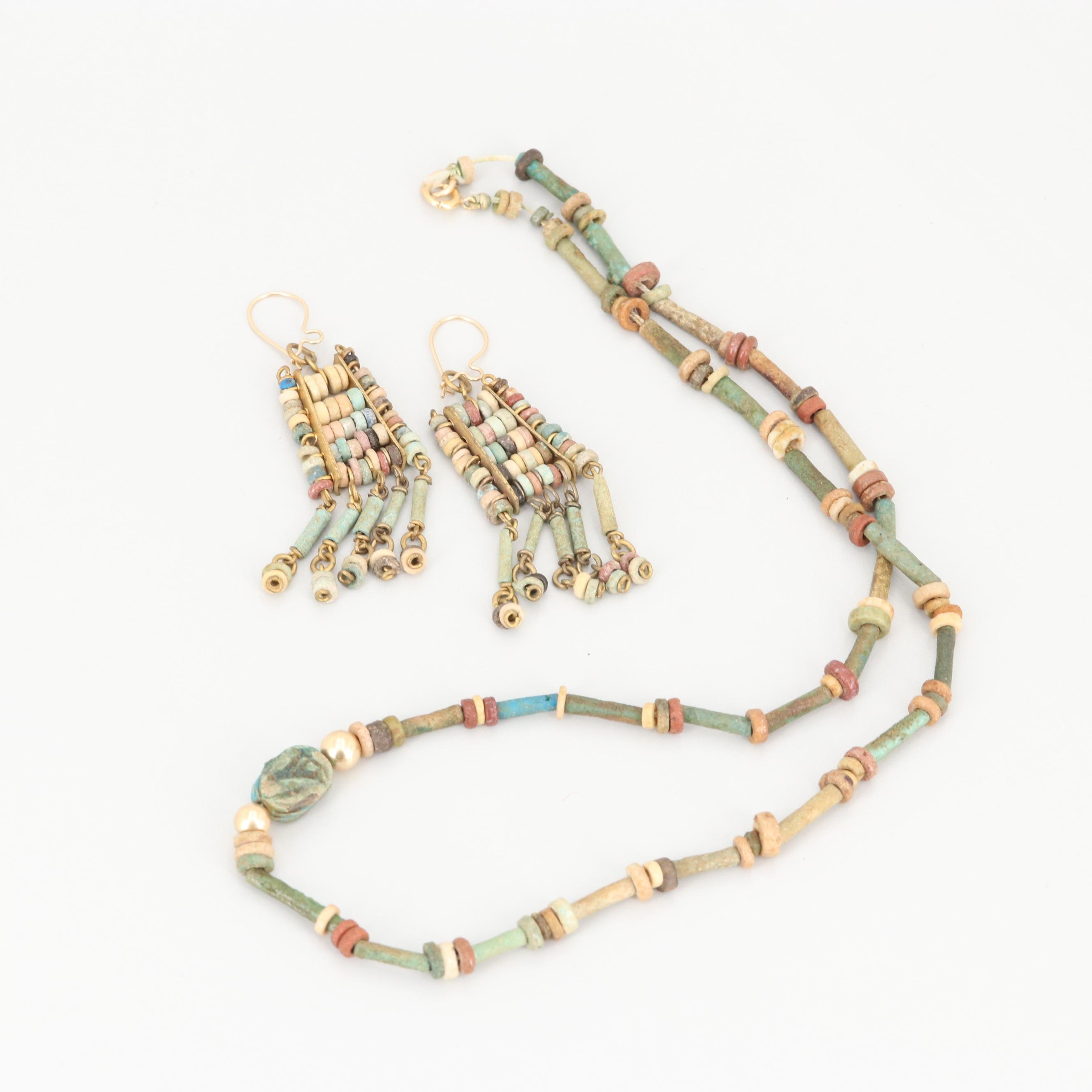 Vintage Egyptian 14K Yellow Gold Faience Necklace and Earrings