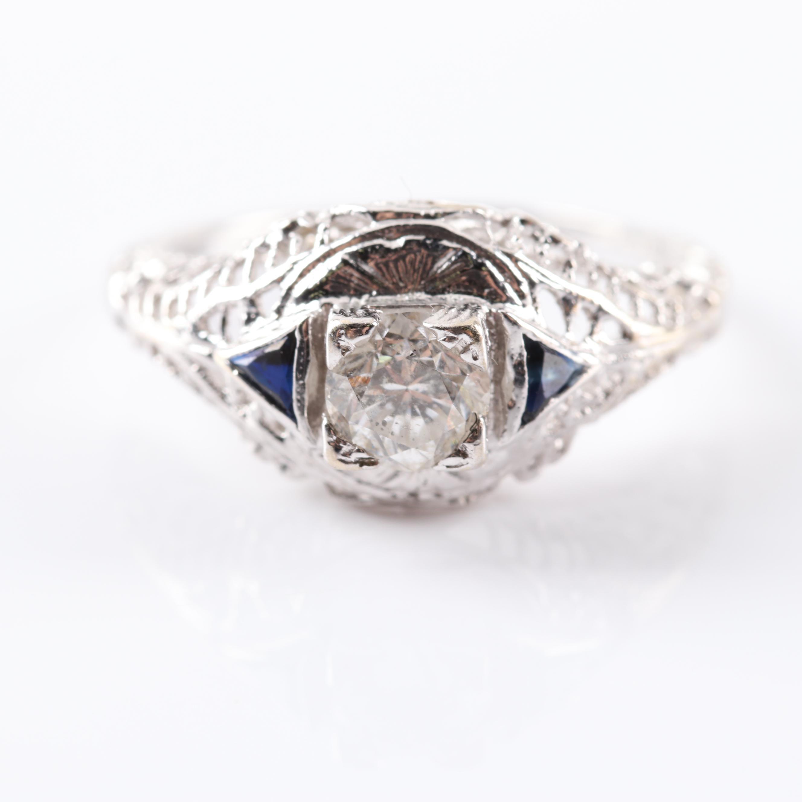 14K White Gold Diamond and Sapphire Filigree Ring