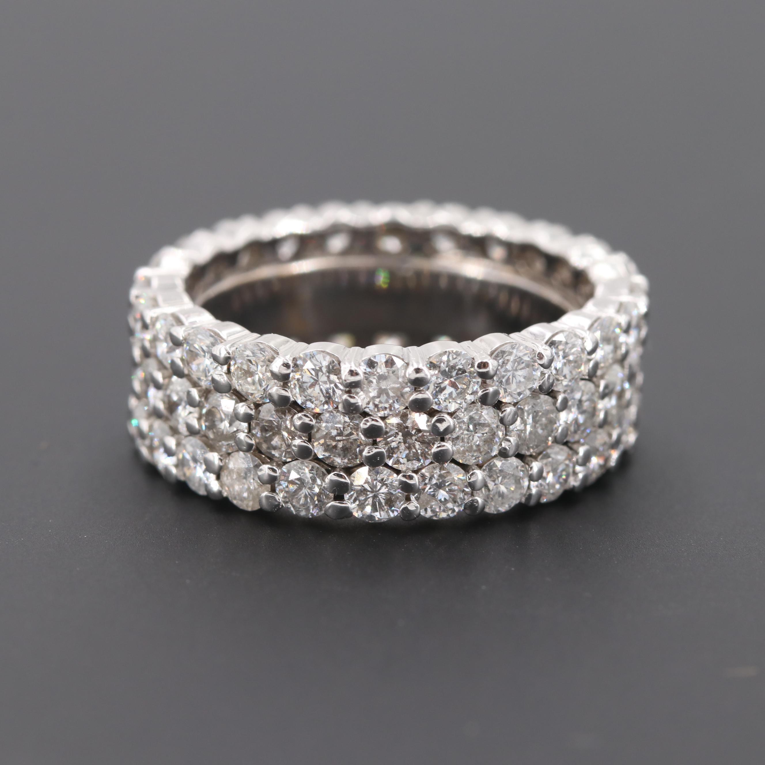 14K White Gold 7.20 CTW Diamond Eternity Ring