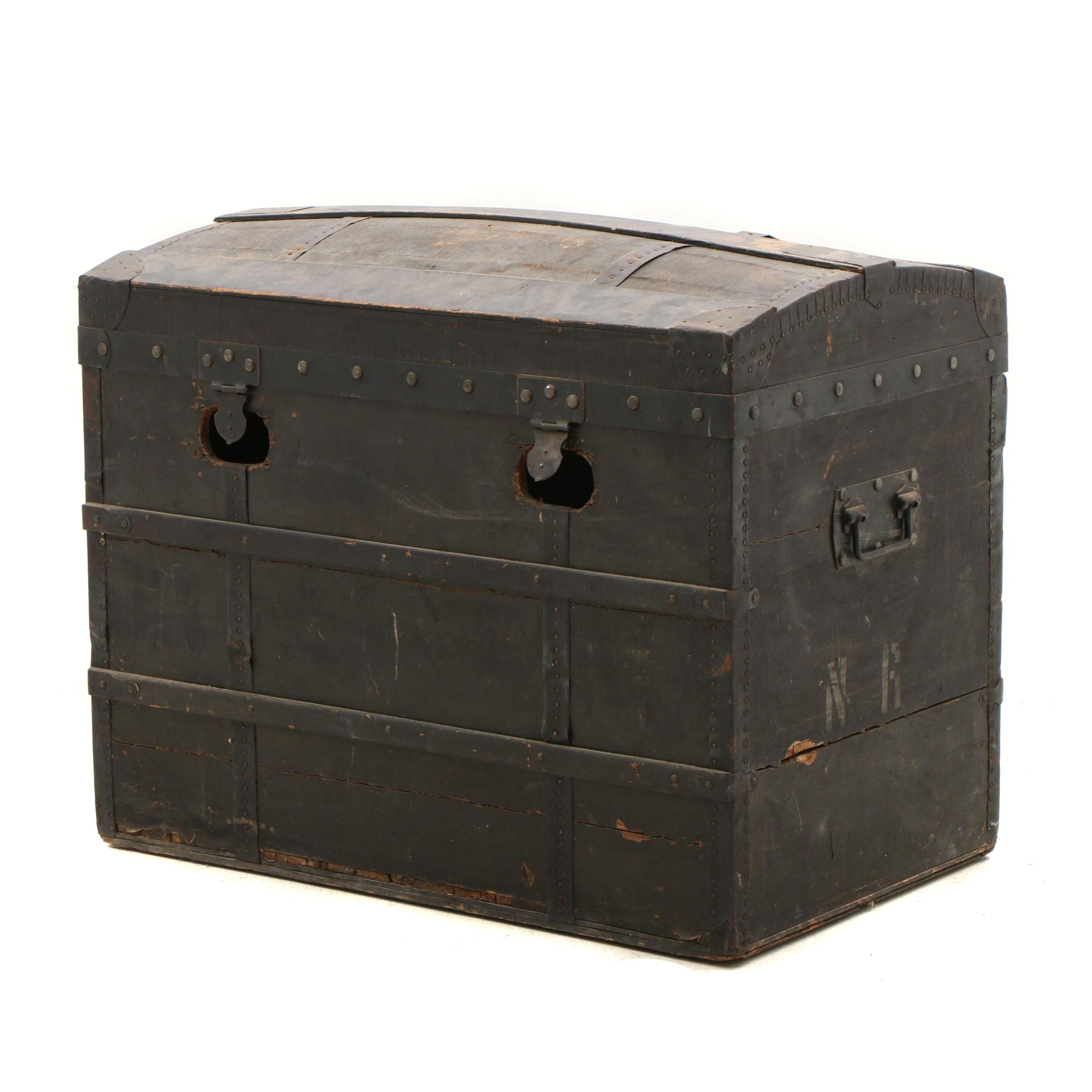 """Antique Dome Top Trunk with Initials """"N R"""""""