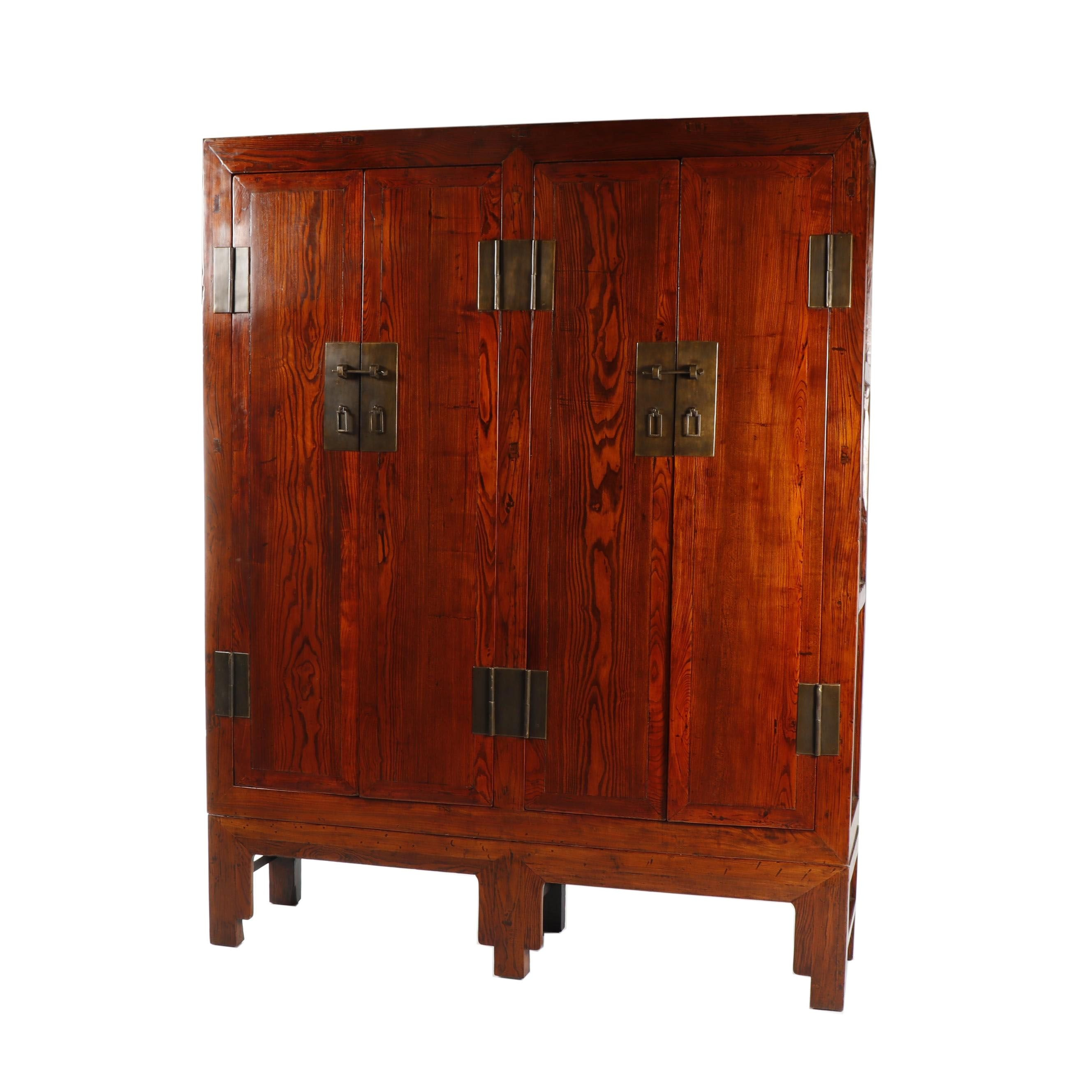 Chinese Elm Armoire on Stand, Mid-20th Century