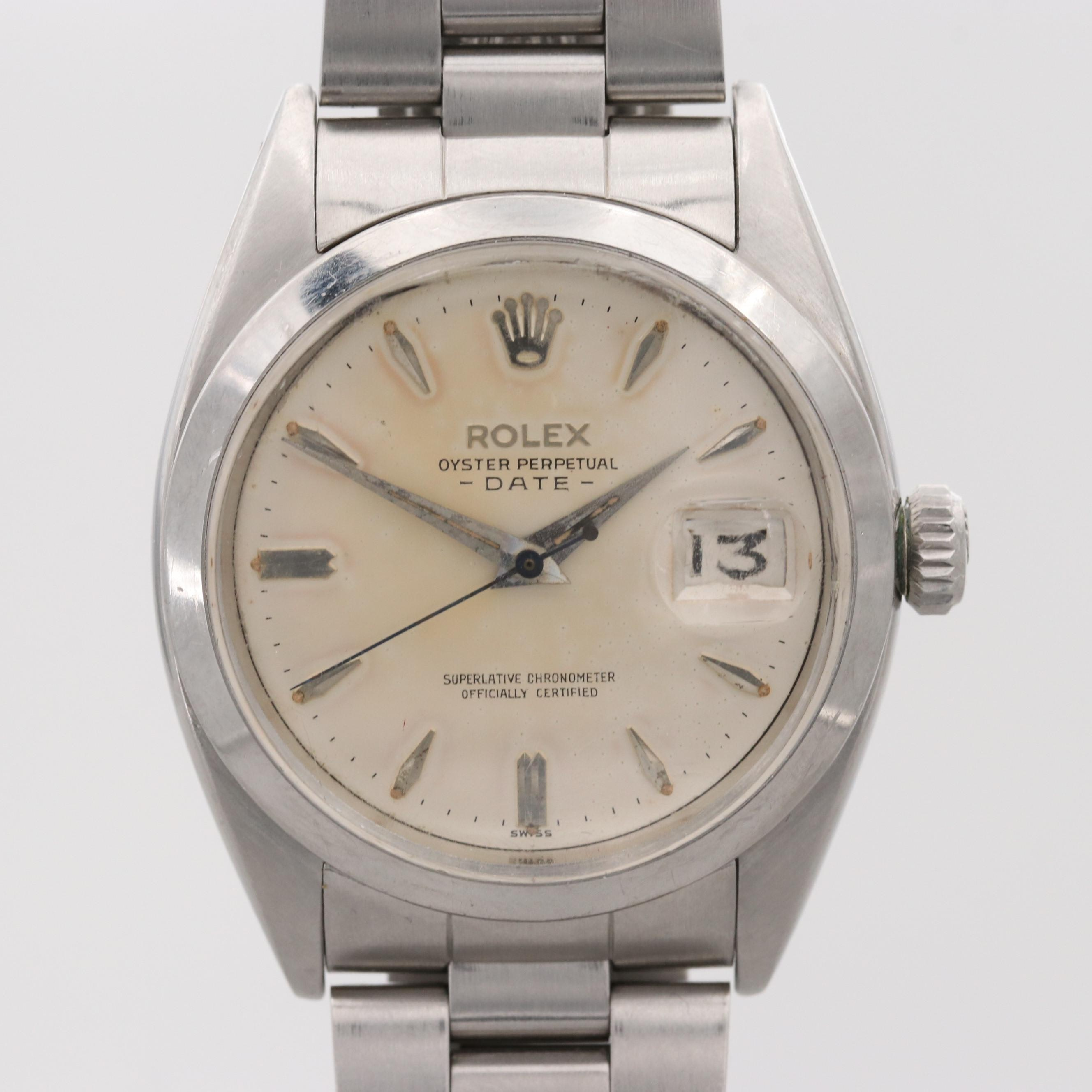 Vintage Rolex Oyster Perpetual Stainless Steel Automatic Wristwatch With Date