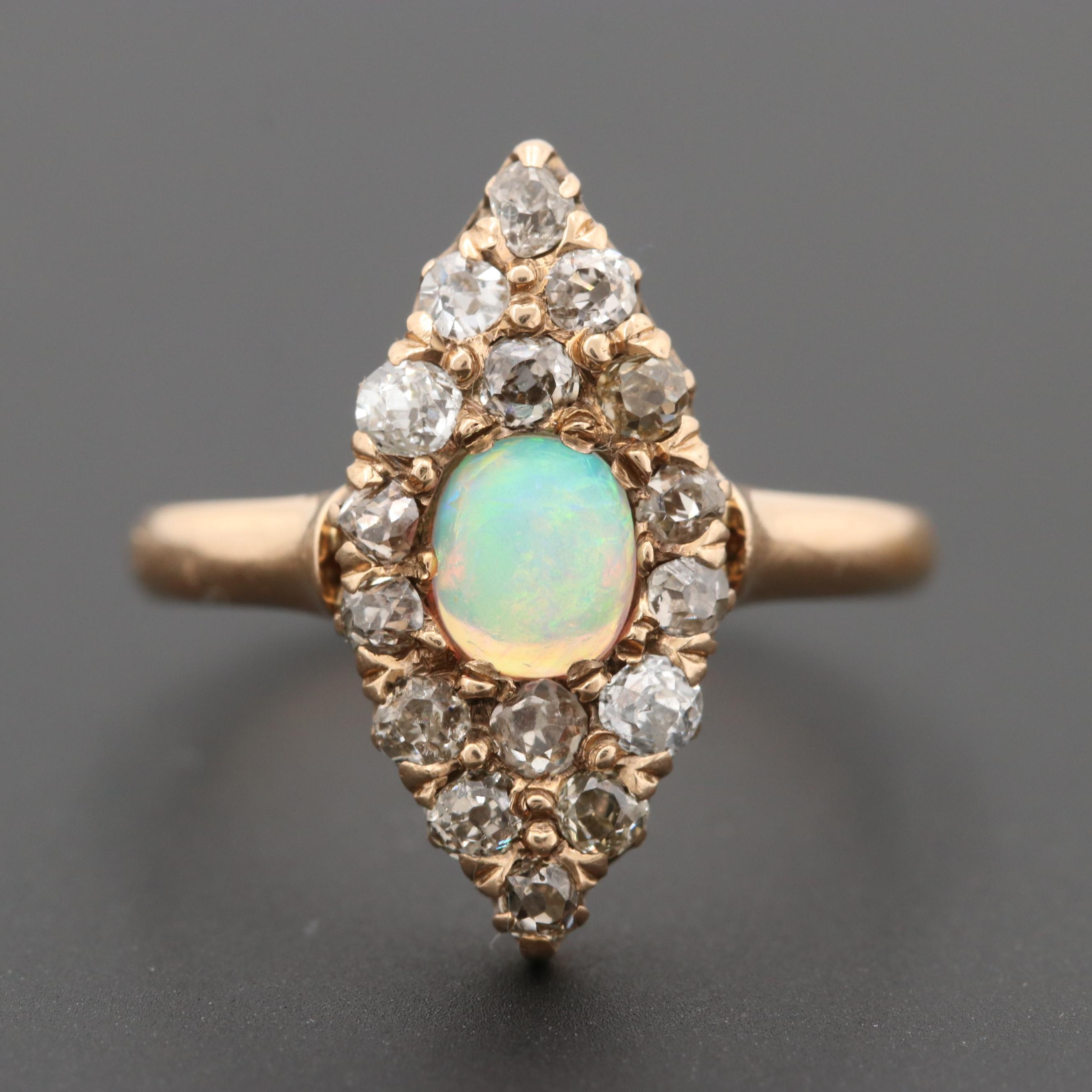 Victorian 14K Rose Gold Opal and Diamond Ring