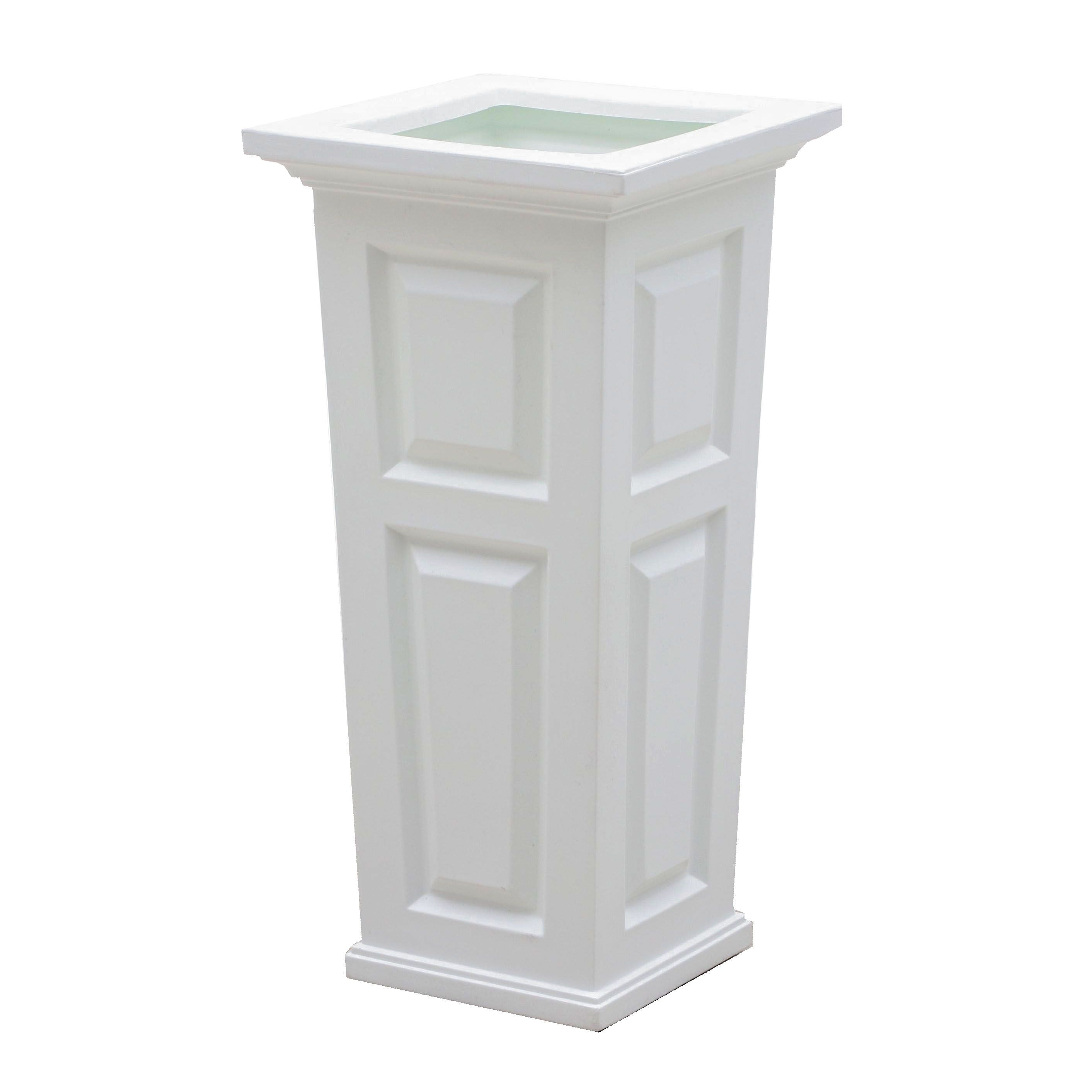 """Mayne """"Nantucket"""" Tall White Planter with Water Reservoir"""
