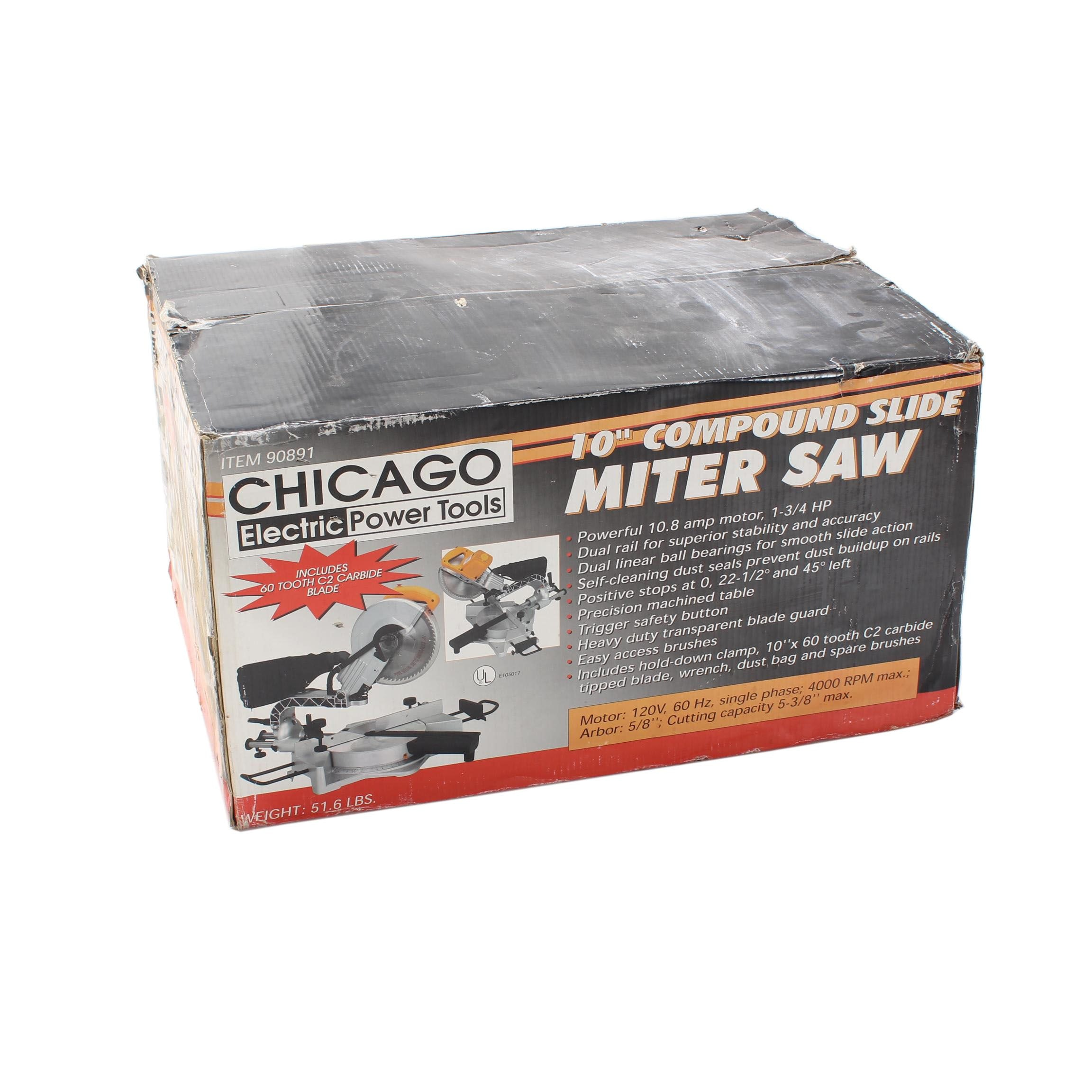 """Chicago Electric Power Tools 10"""" Compound Slide Miter Saw"""
