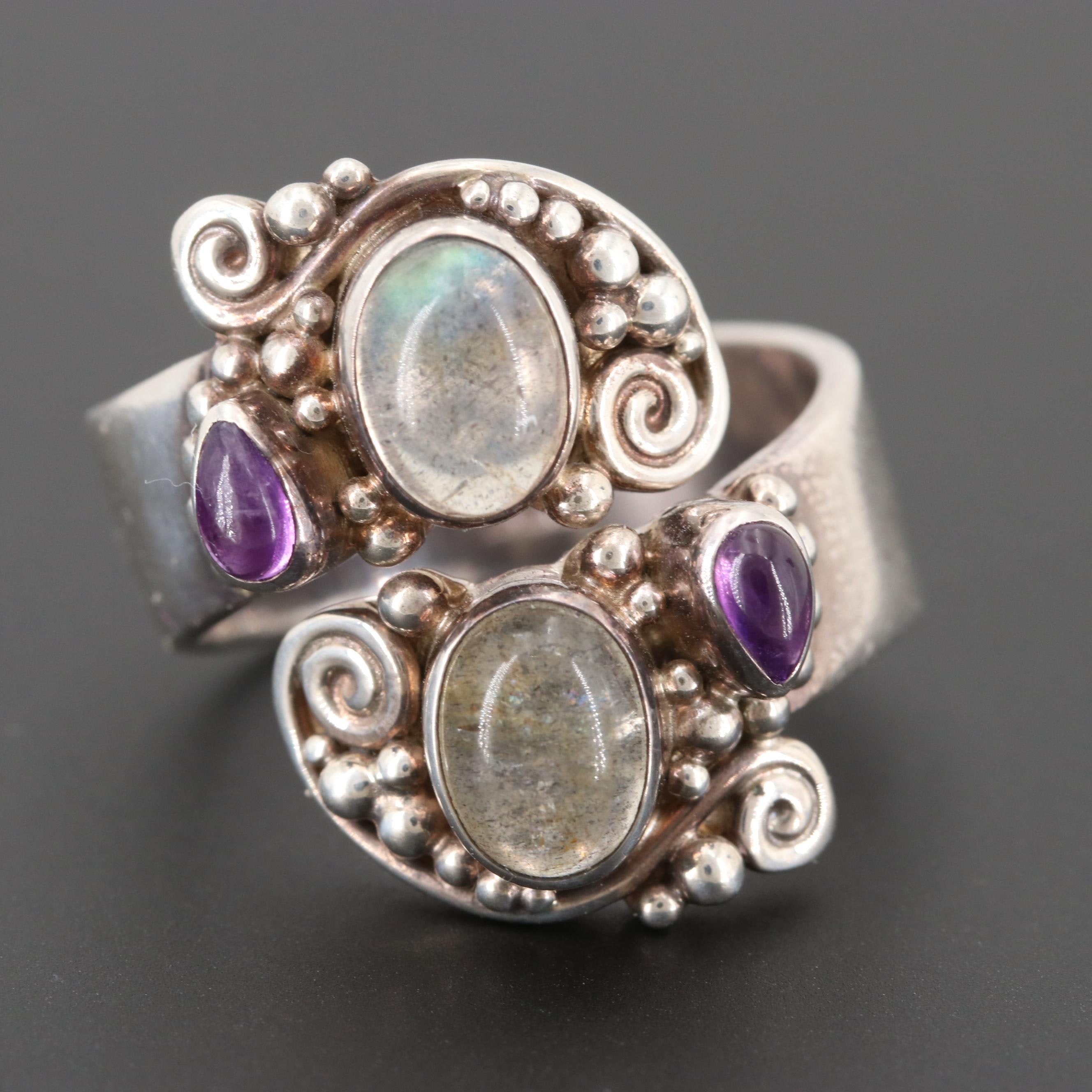 Sajen Sterling Silver Labradorite and Amethyst Bypass Ring