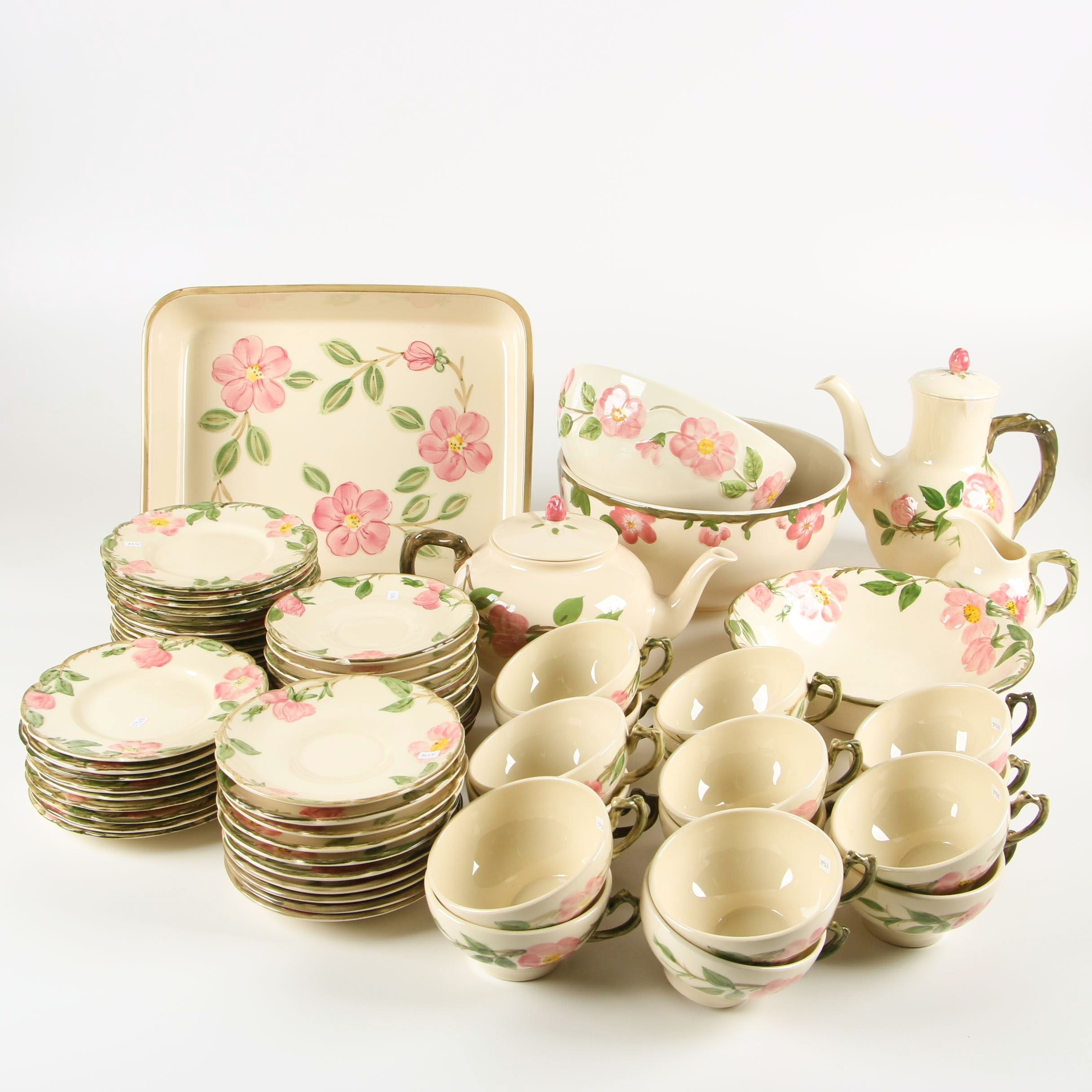 "Franciscan ""Dessert Rose"" Tea and Coffee Wares with Mixing Bowls"
