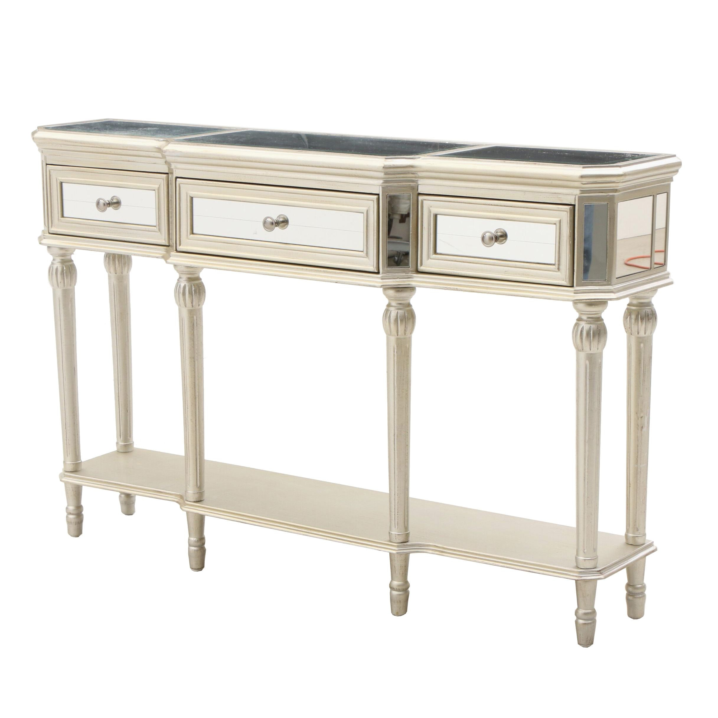 Contemporary Mirrored and Silver Paint Finish Console Table