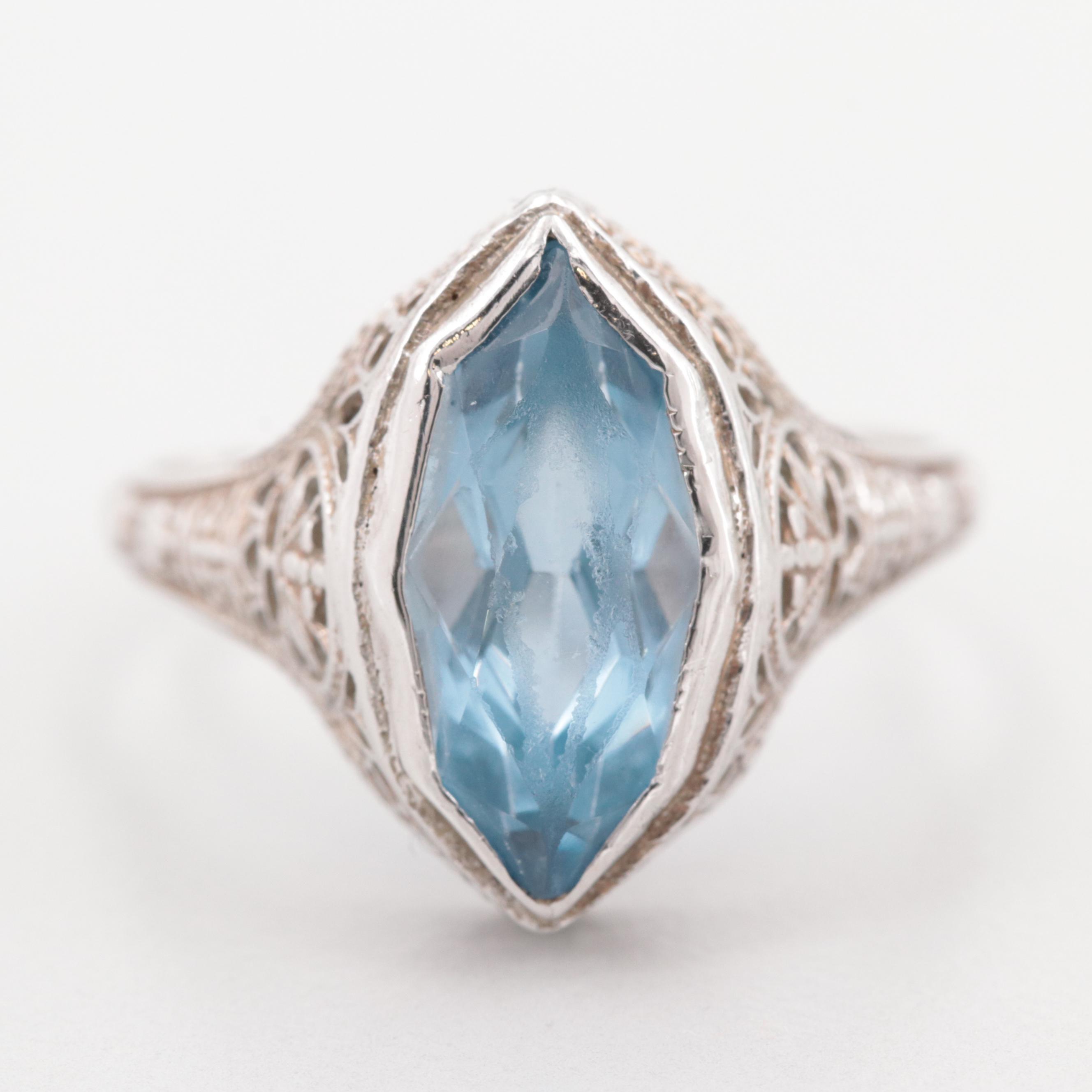 Art Deco 14K White Gold Synthetic Spinel Filigree Ring