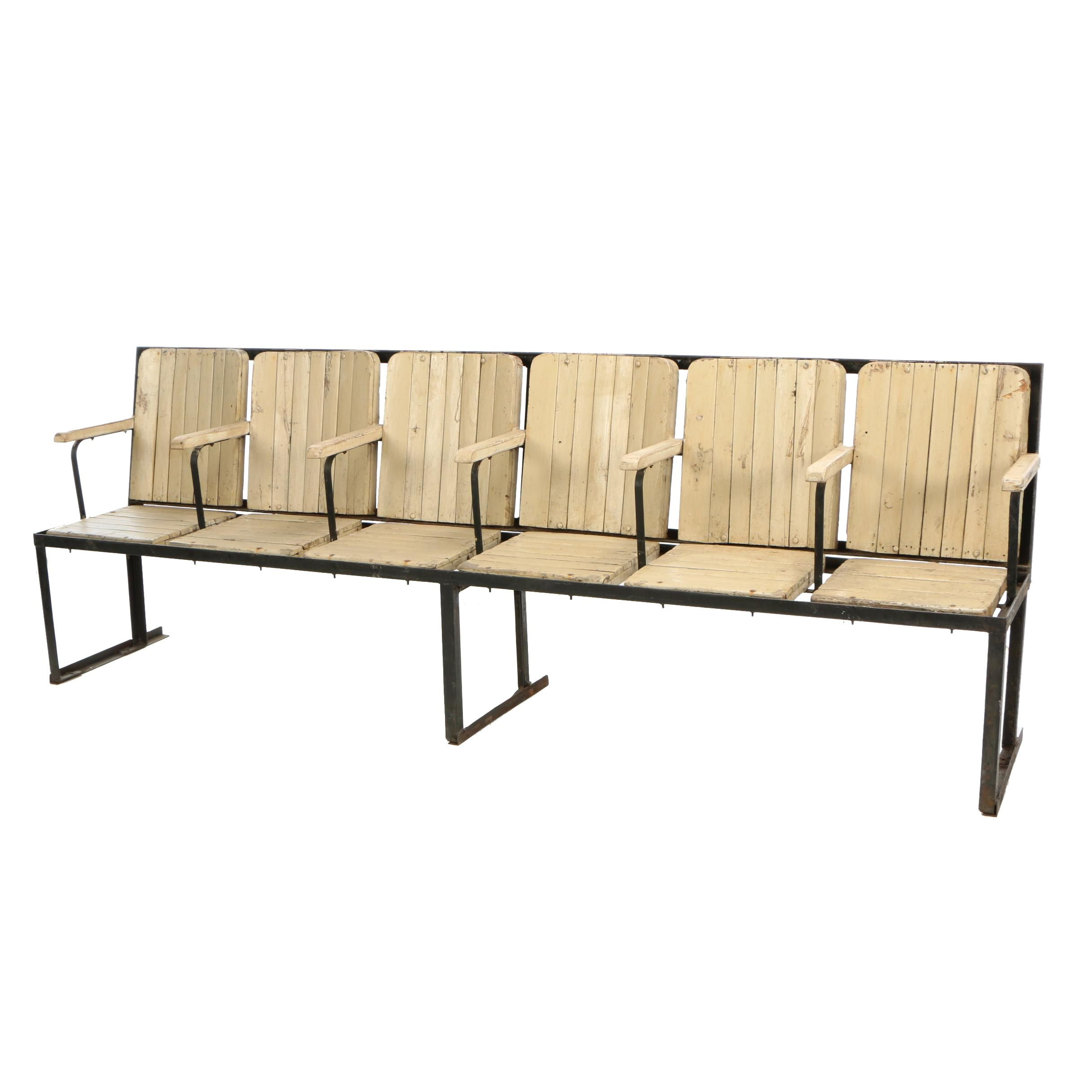 Indian Painted Hardwood Six-Seat Theater Bench, Late 20th Century