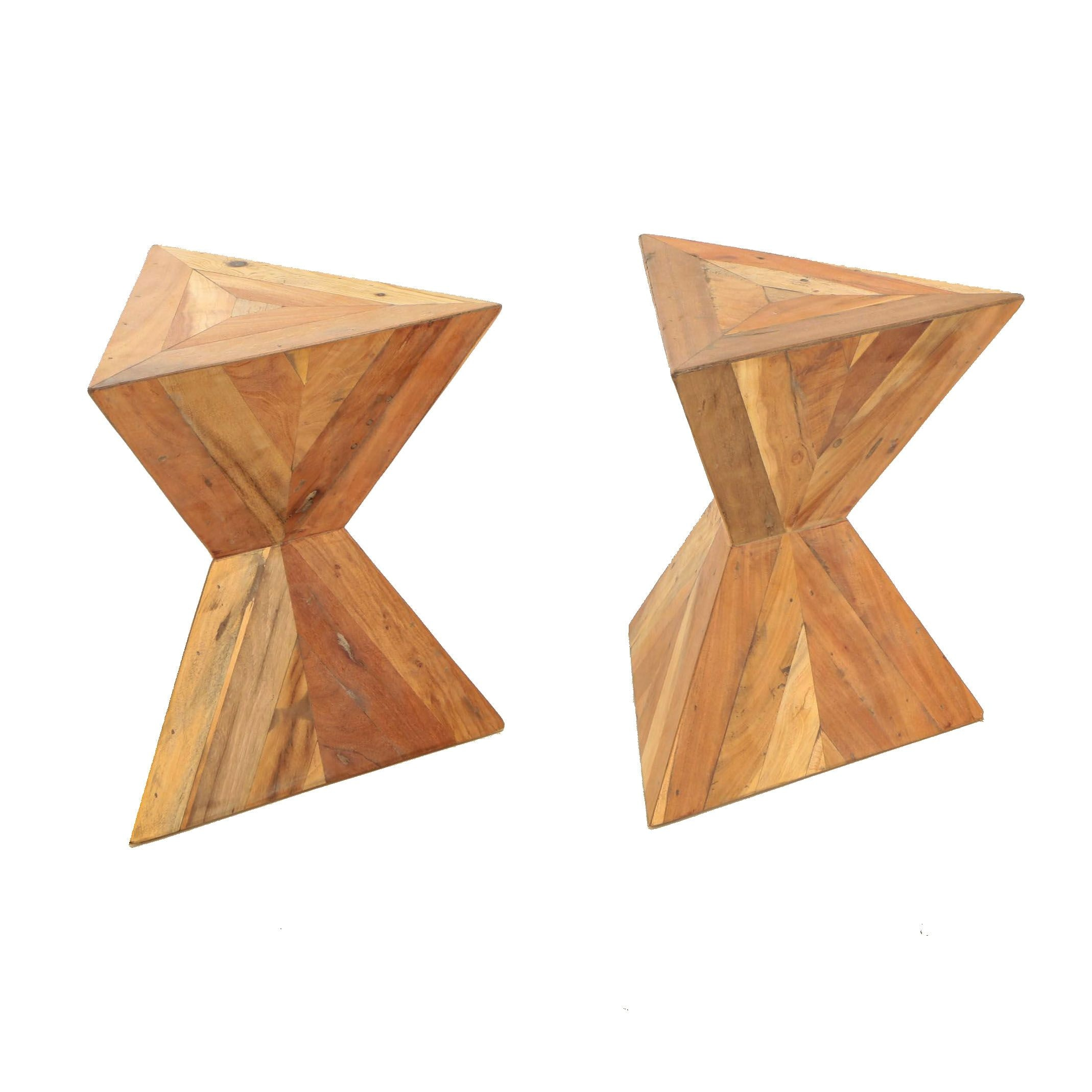 "Pair of Modern ""Pyramid"" Acacia Accent Tables"