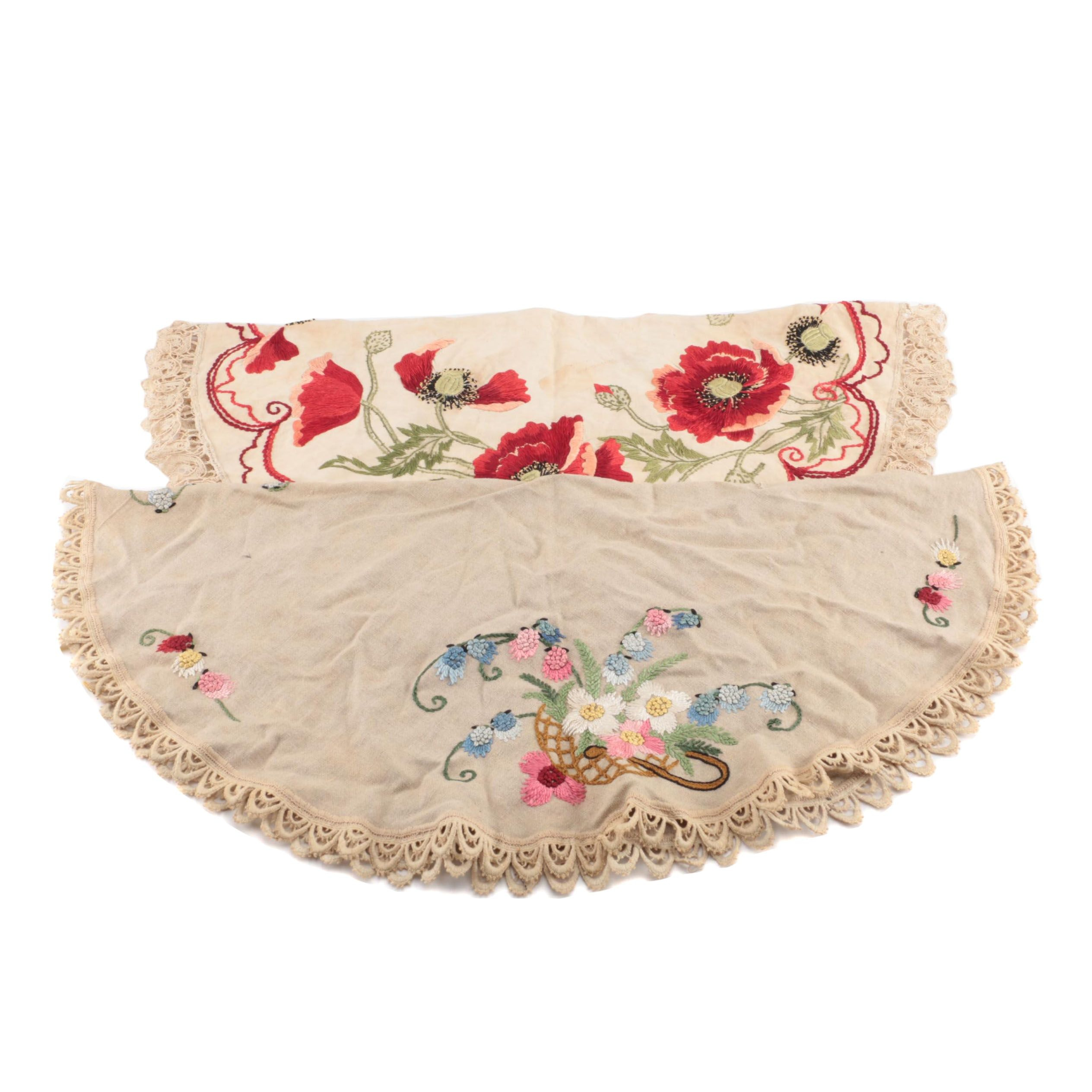 Round Hand-Embroidered Accent Tablecloths