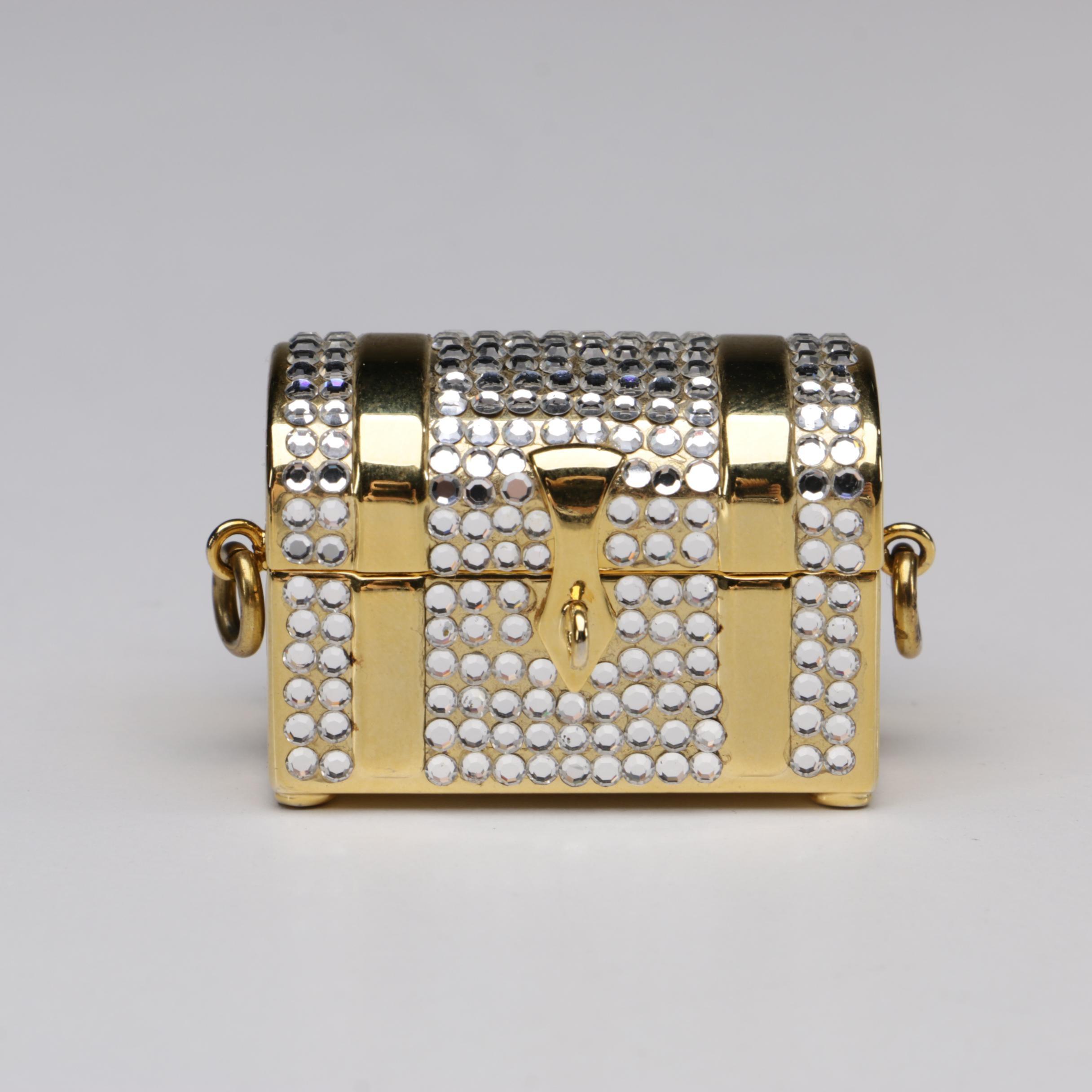 Judith Leiber Swarovski Crystal Treasure Chest Pill Box