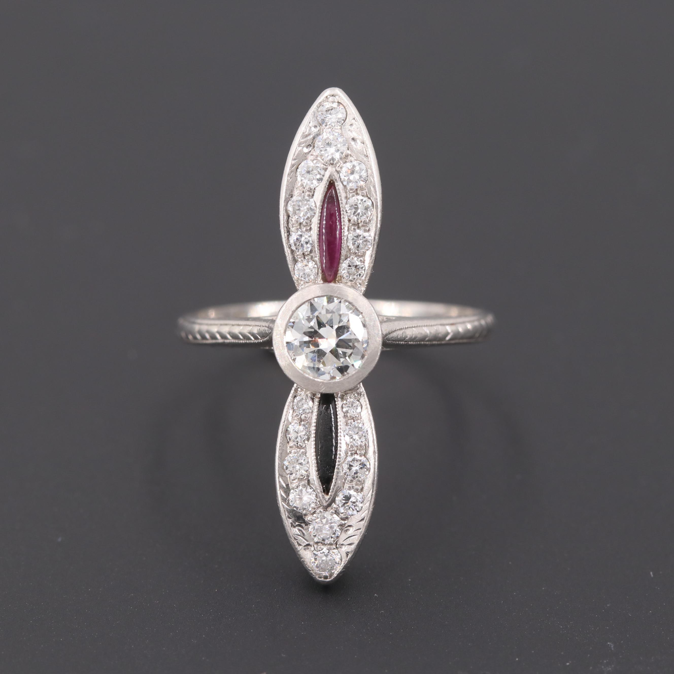 Art Deco Platinum Diamond, Synthetic Ruby and Black Onyx Ring