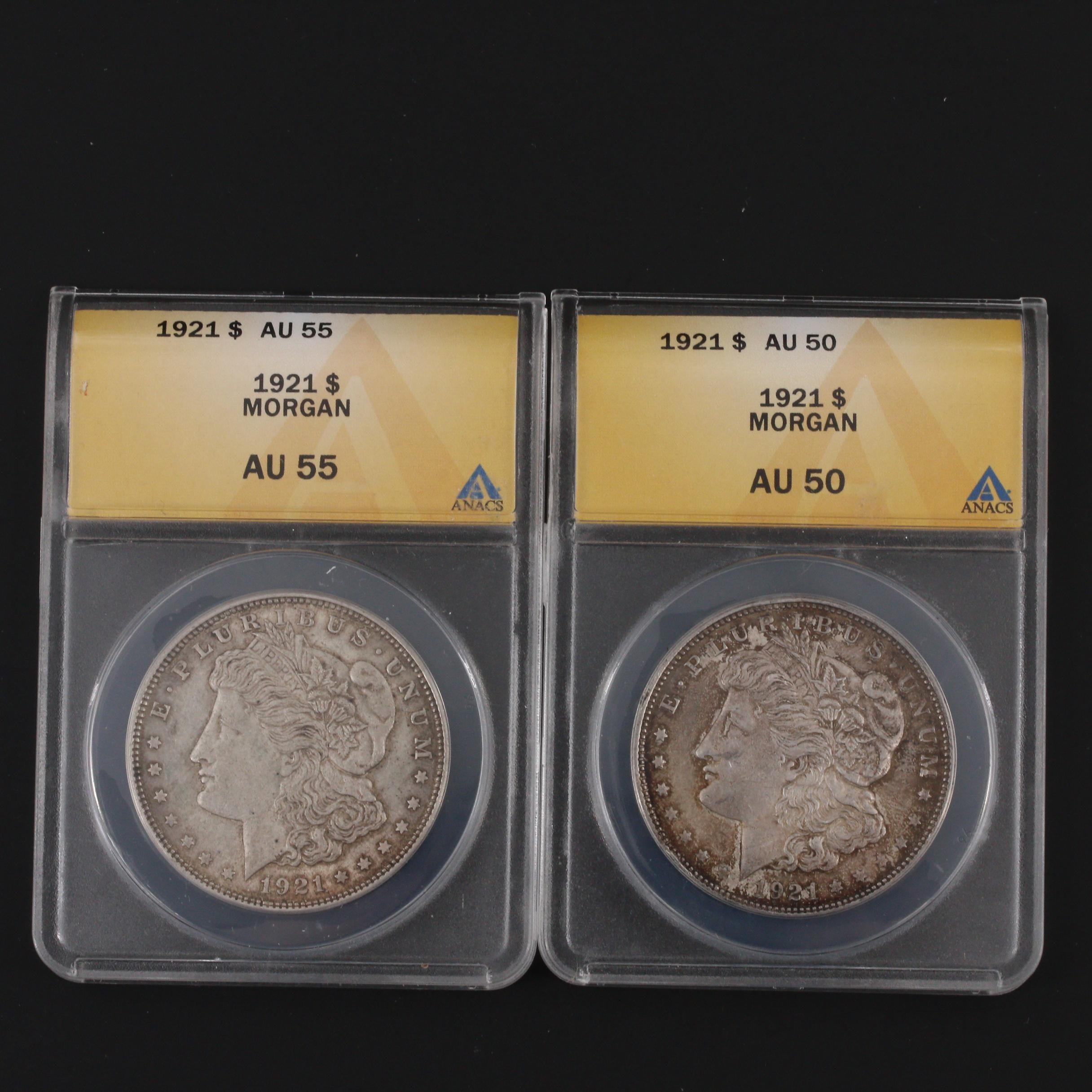 Group of 2 ANACS Graded 1921 Silver Morgan Dollars