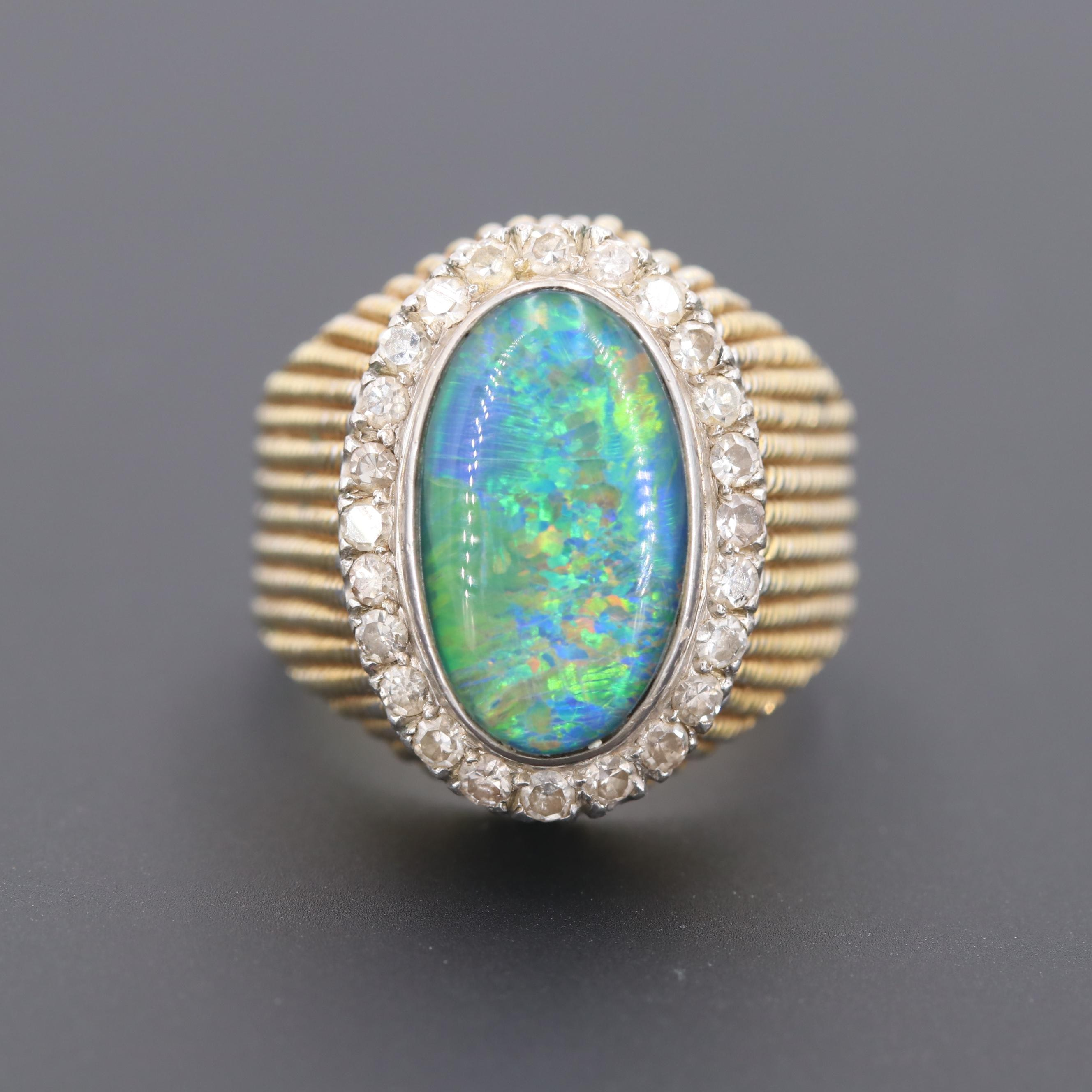 14K Yellow and White Gold Opal Triplet and Diamond Ring